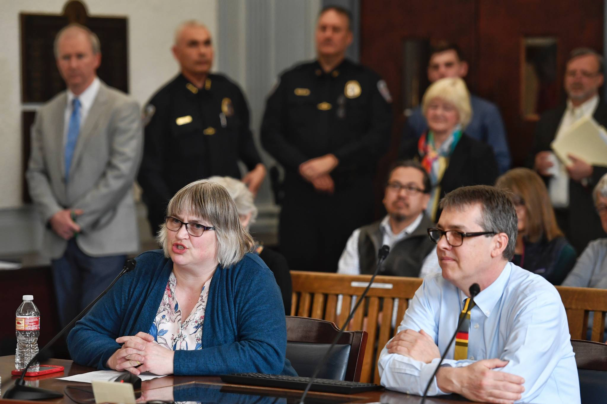 Mayor Beth Weldon, left, and City Manager Rorie Watt testify on the operating budget in front of the Senate Finance Committee at the Capitol on Thursday, April 11, 2019. (Michael Penn | Juneau Empire)