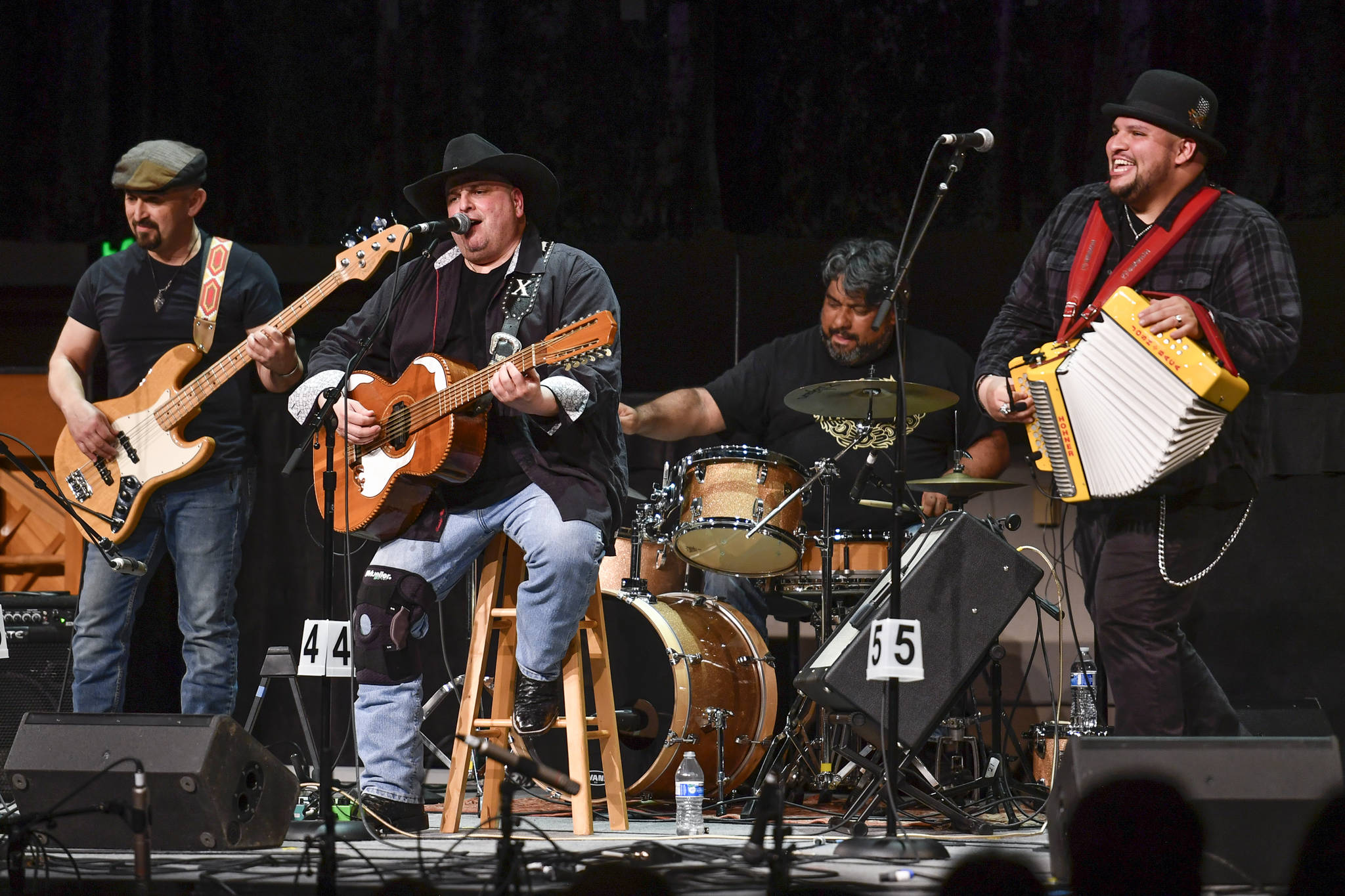 Los Texmaniacs, of San Antonio, Texas, perform as the guest artist at the 45th annual Alaska Folk Festival at Centennial Hall on Thursday, April 11, 2019. From left: Noel Hernandez, Max Baca, Daniel Martinez and Josh Baca. (Michael Penn | Juneau Empire)