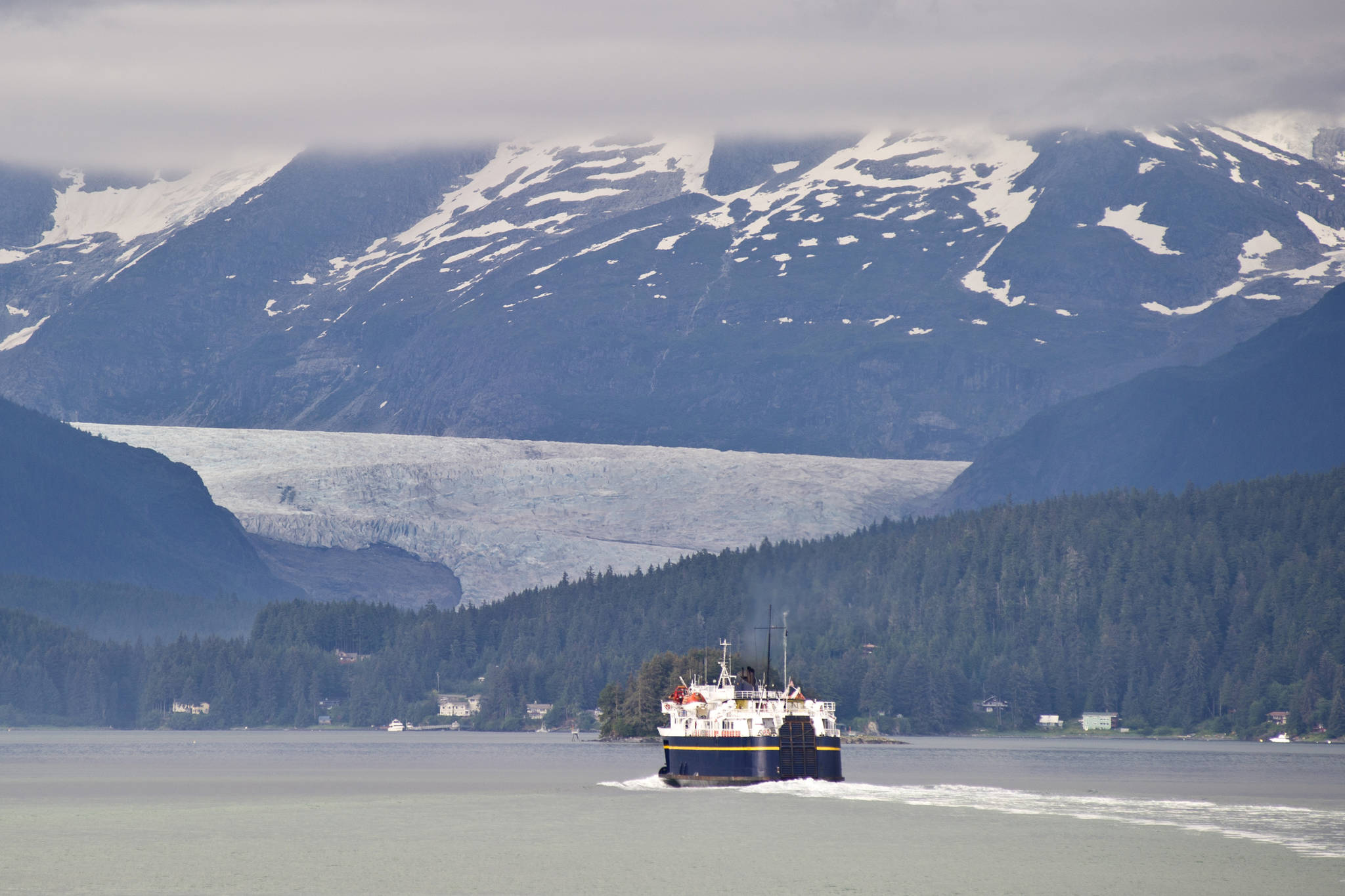 The Alaska Marine Highway ferry LeConte pulls into Auke Bay in Juneau, Alaska. (Michael Penn | Juneau Empire File)