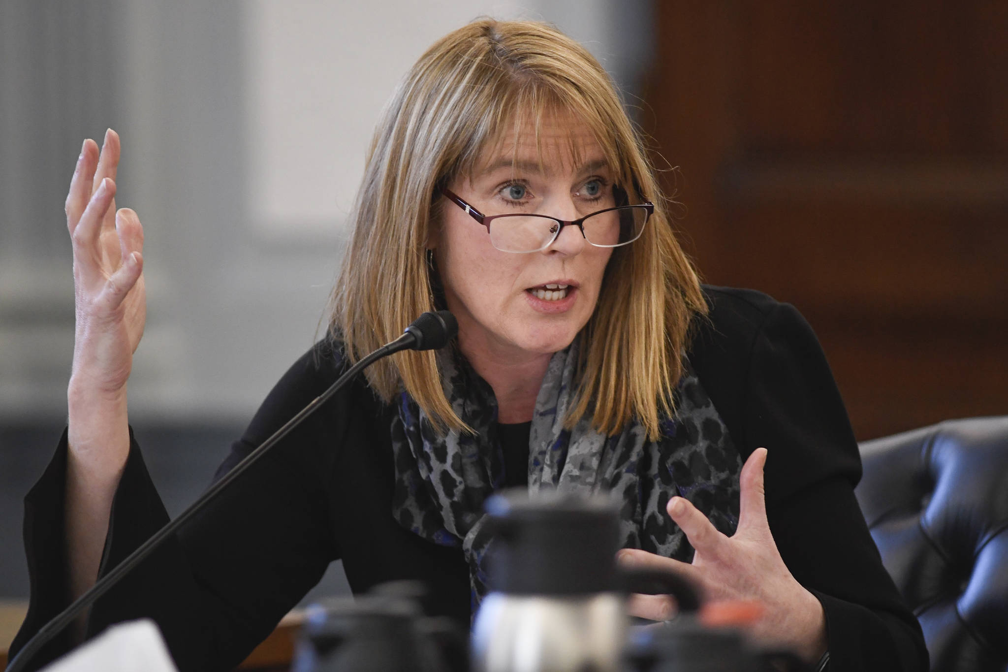 Sen. Natasha Von Imhof, R-Anchorage, pictured here on Feb. 18, 2019, asks why adult preventative care was targeted for elimination, saying she has heard from providers that this service often will bring people into a clinic where they can be asked if they have other medical needs. (Michael Penn | Juneau Empire File)