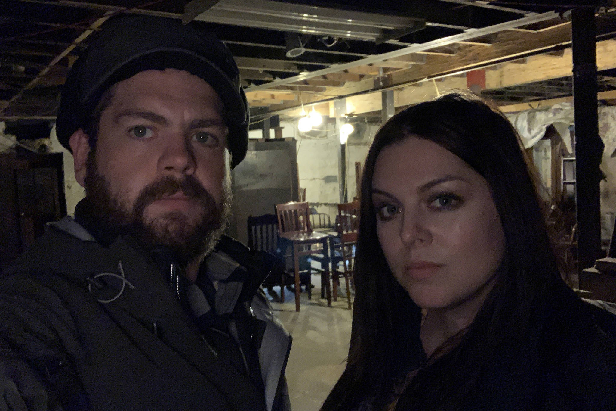 "Jack Osbourne and Katrina Weidman prepare to investigate the basement of the Alaskan Hotel, which will be shown in an episode of the TV show ""Portals to Hell."" (Courtesy Photo 