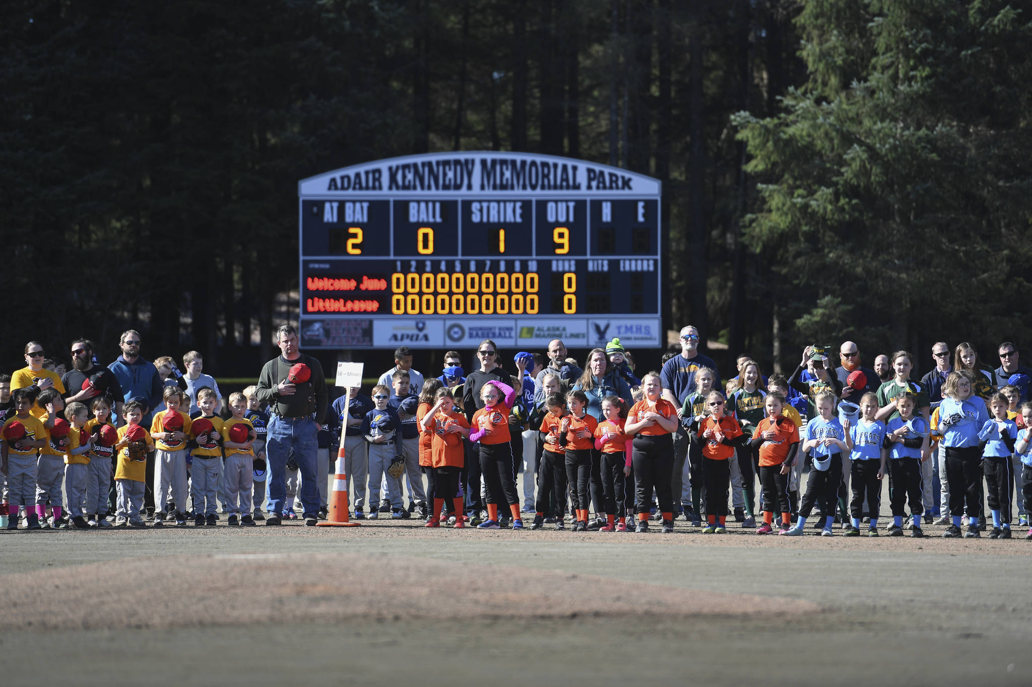 Gastineau Channel Little League Opening Day Ceremonies at Adair-Kennedy Memorial Park on Saturday, April 27, 2019. (Michael Penn | Juneau Empire)