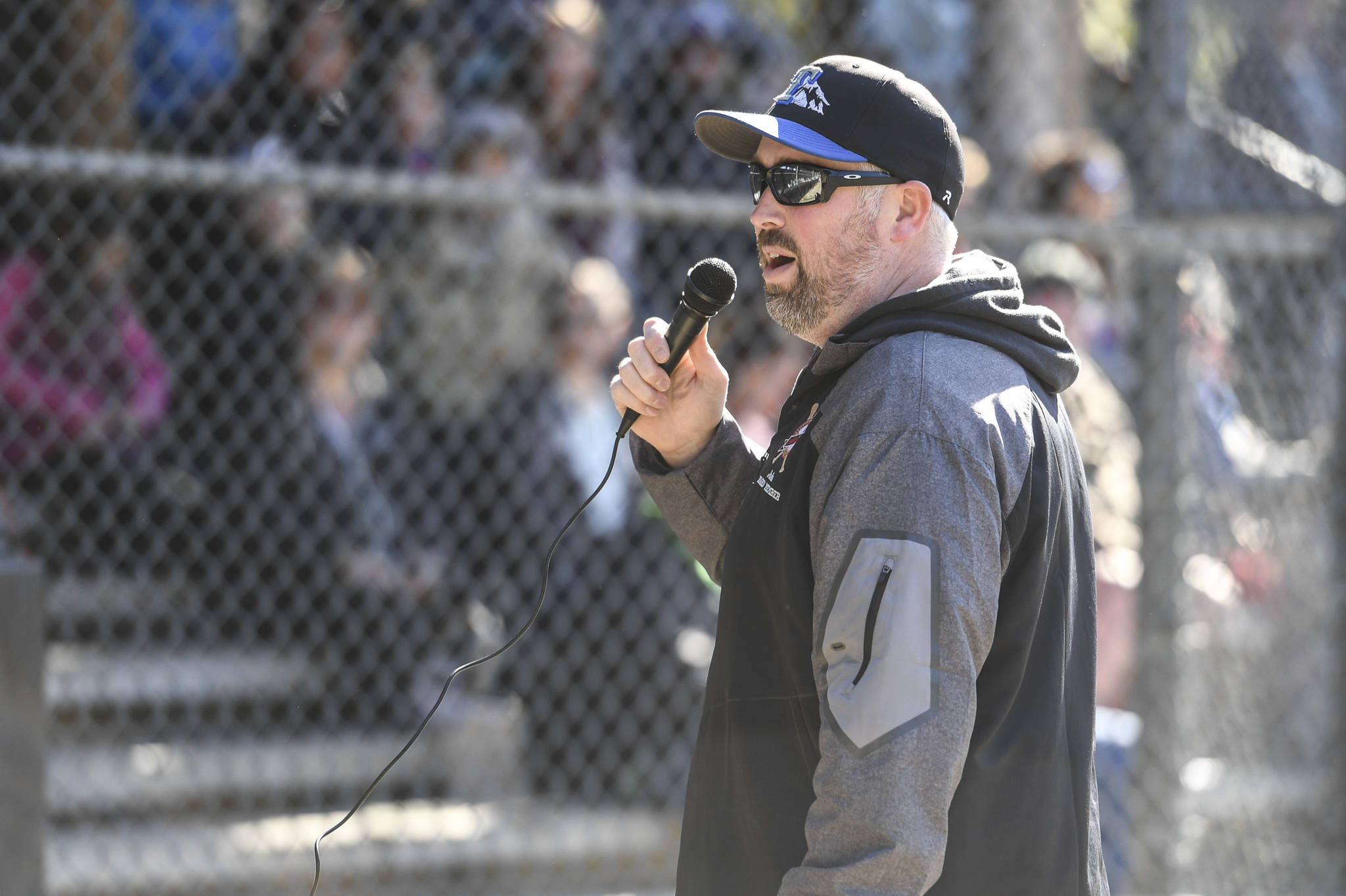Jake Carte is the Master of Ceremonies at the Gastineau Channel Little League Opening Day Ceremonies at Adair-Kennedy Memorial Park on Saturday, April 27, 2019. (Michael Penn   Juneau Empire)