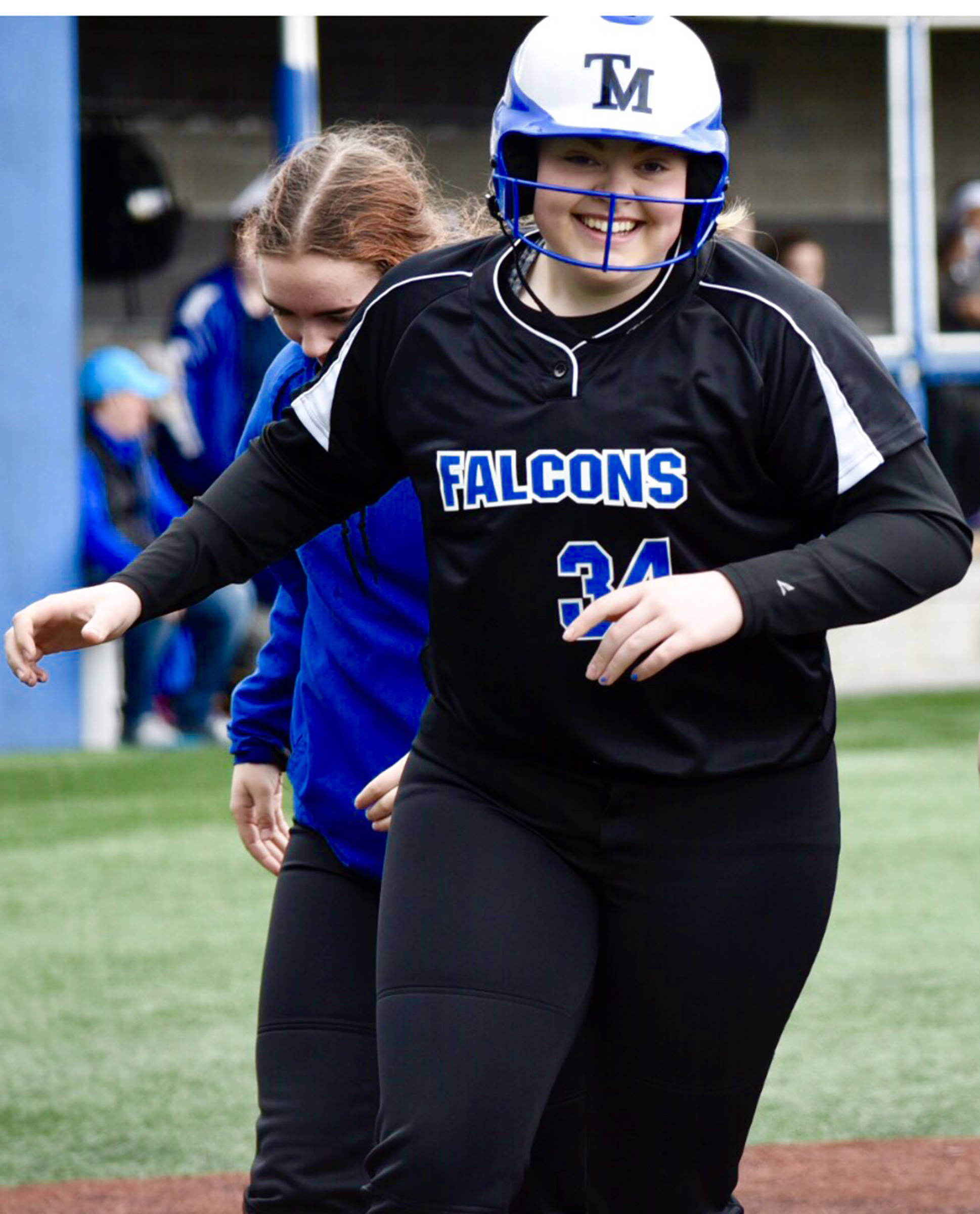 Thunder Mountain High School freshman Aspen Kasper runs across home plate after hitting a home run in the top of the third inning against Sitka at Moller Field on Friday, April 26, 2019. (Courtesy Photo | Sharla Hayes)