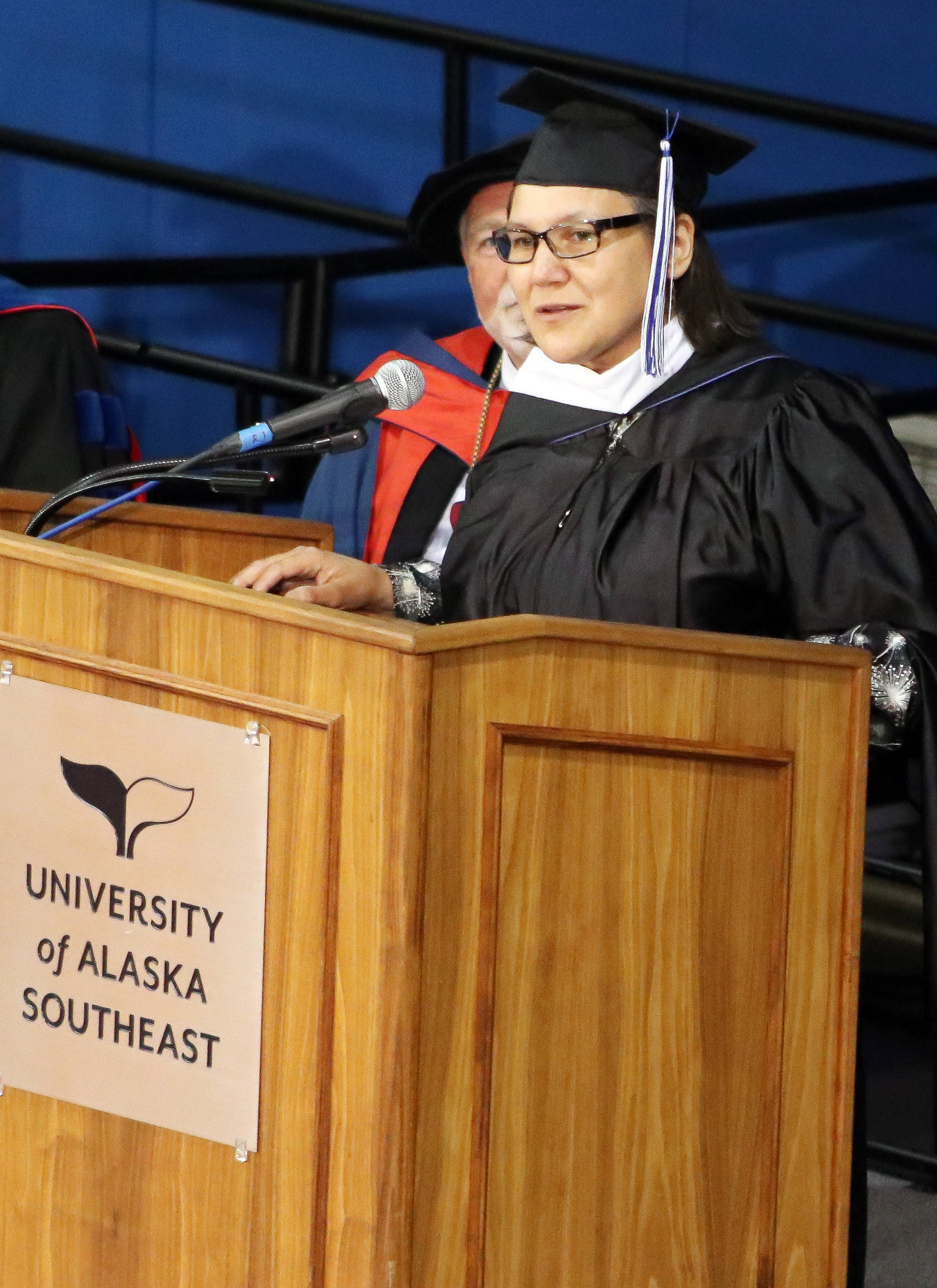 Commencement speaker Valerie Nurr'araaluk Davidson speaks during the University of Alaska Southeast commencement ceremony on Sunday, May 5, 2019. (Erin Laughlin | For the Juneau Empire)