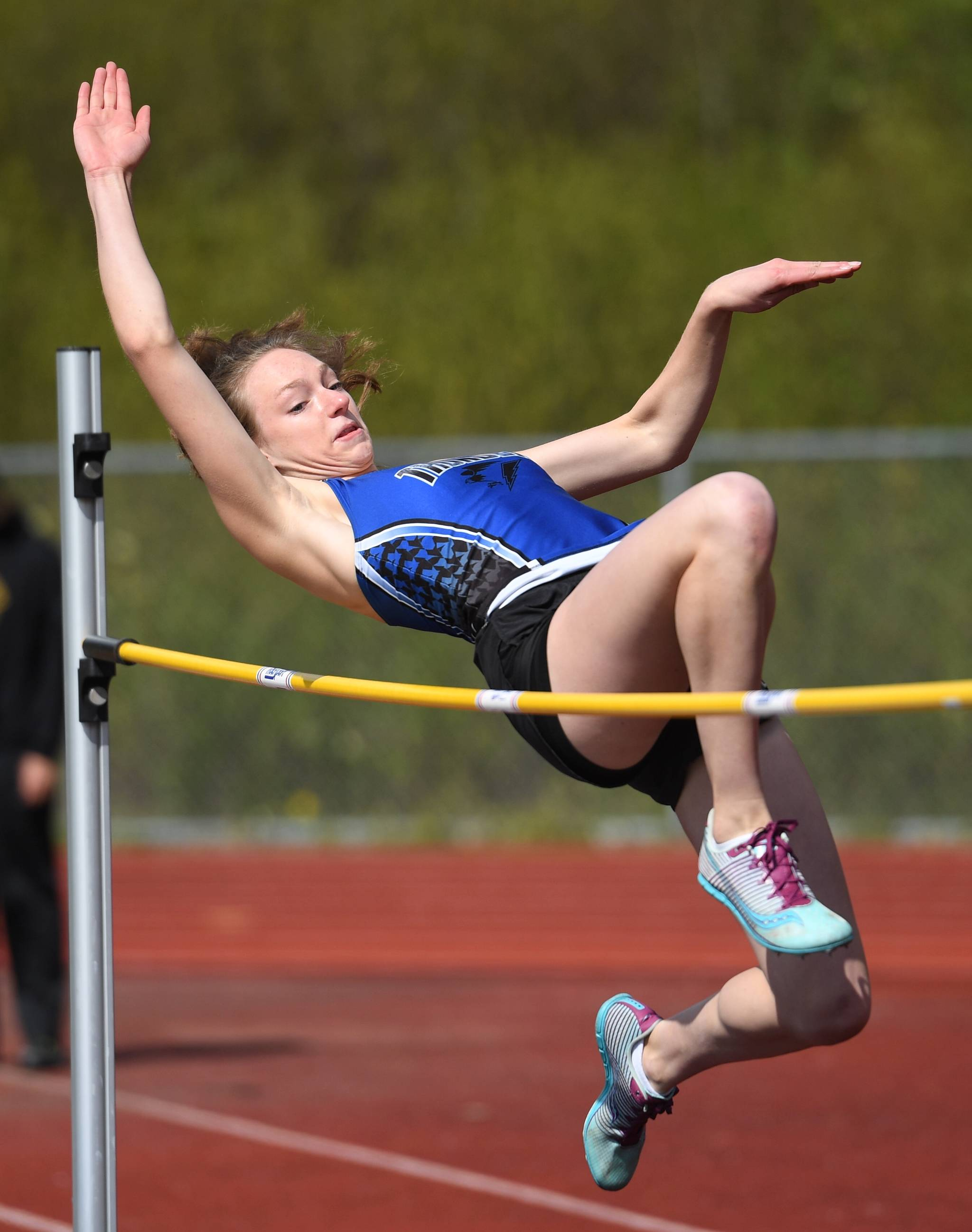 "Thunder Mountain's Sophia Harvey clears 4'6"" to win the girls high jump in the large school category at the Region V Track and Field Championships at Thunder Mountain High School on Friday, May 17, 2019. (Michael Penn 