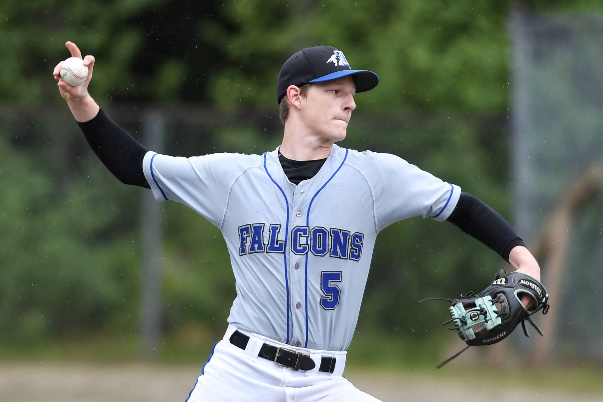 Thunder Mountain's Logan Lesmann pitches against Petersburg during the Region V Baseball Championship at Adair-Kennedy Memorial Park on Thursday, May 23, 2019. (Michael Penn | Juneau Empire)
