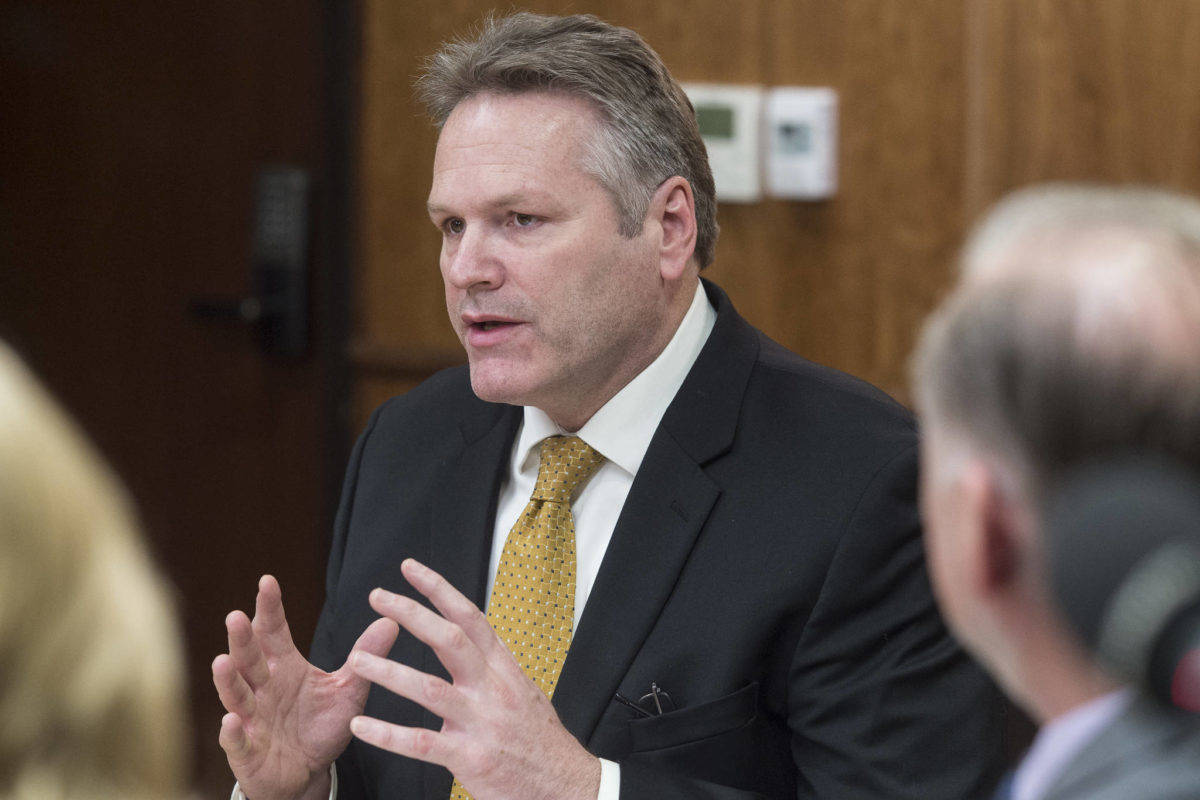 Gov. Mike Dunleavy speaks with his cabinet members at the Capitol on Tuesday, Jan. 8, 2019. (Michael Penn | Juneau Empire File)