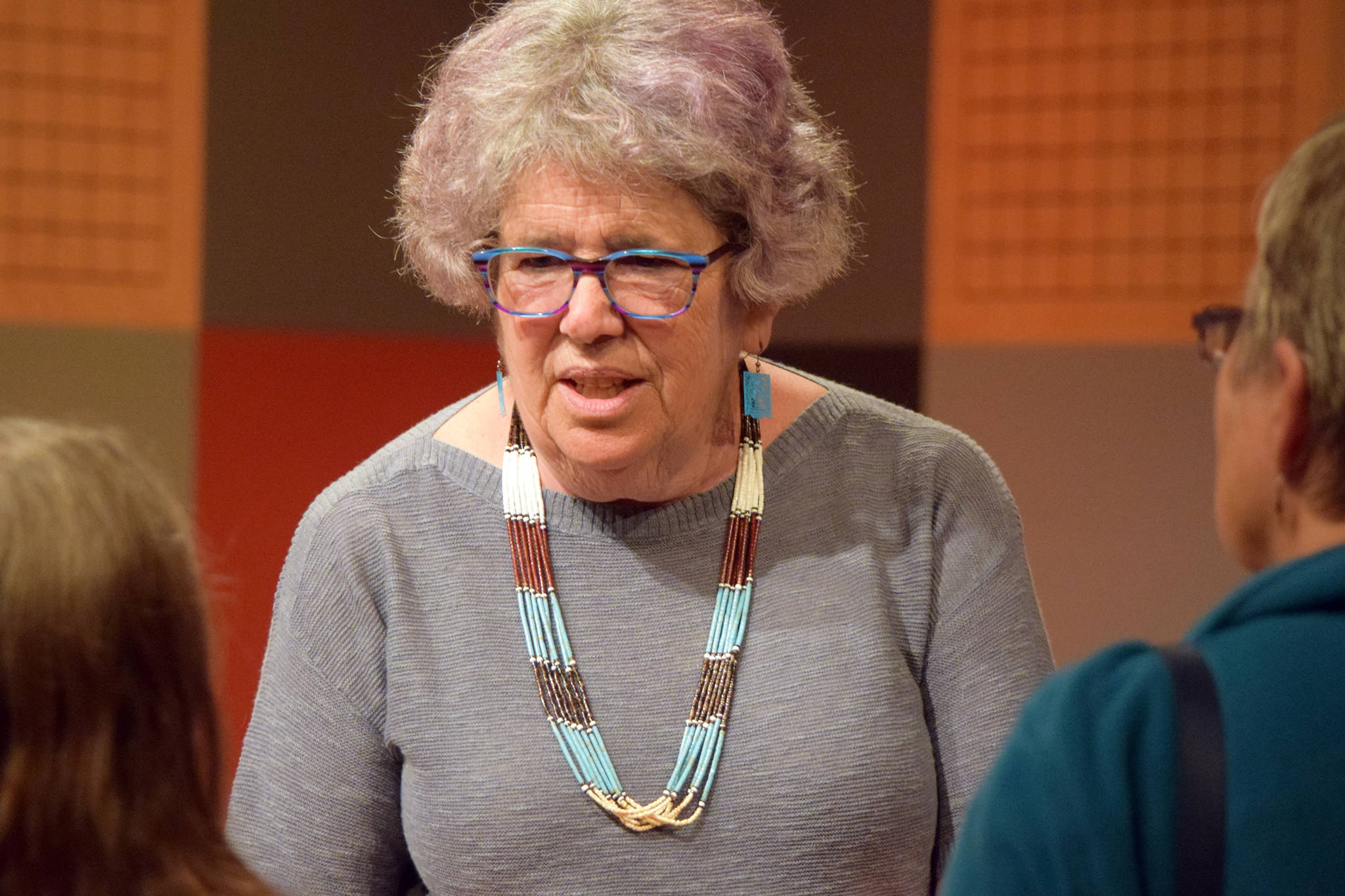 Susan Fitzgerald speaks about her volunteer work at a refugee shelter in New Mexico during a presentation in Juneau on Friday, May 31, 2019. (Ben Hohenstatt   Juneau Empire)