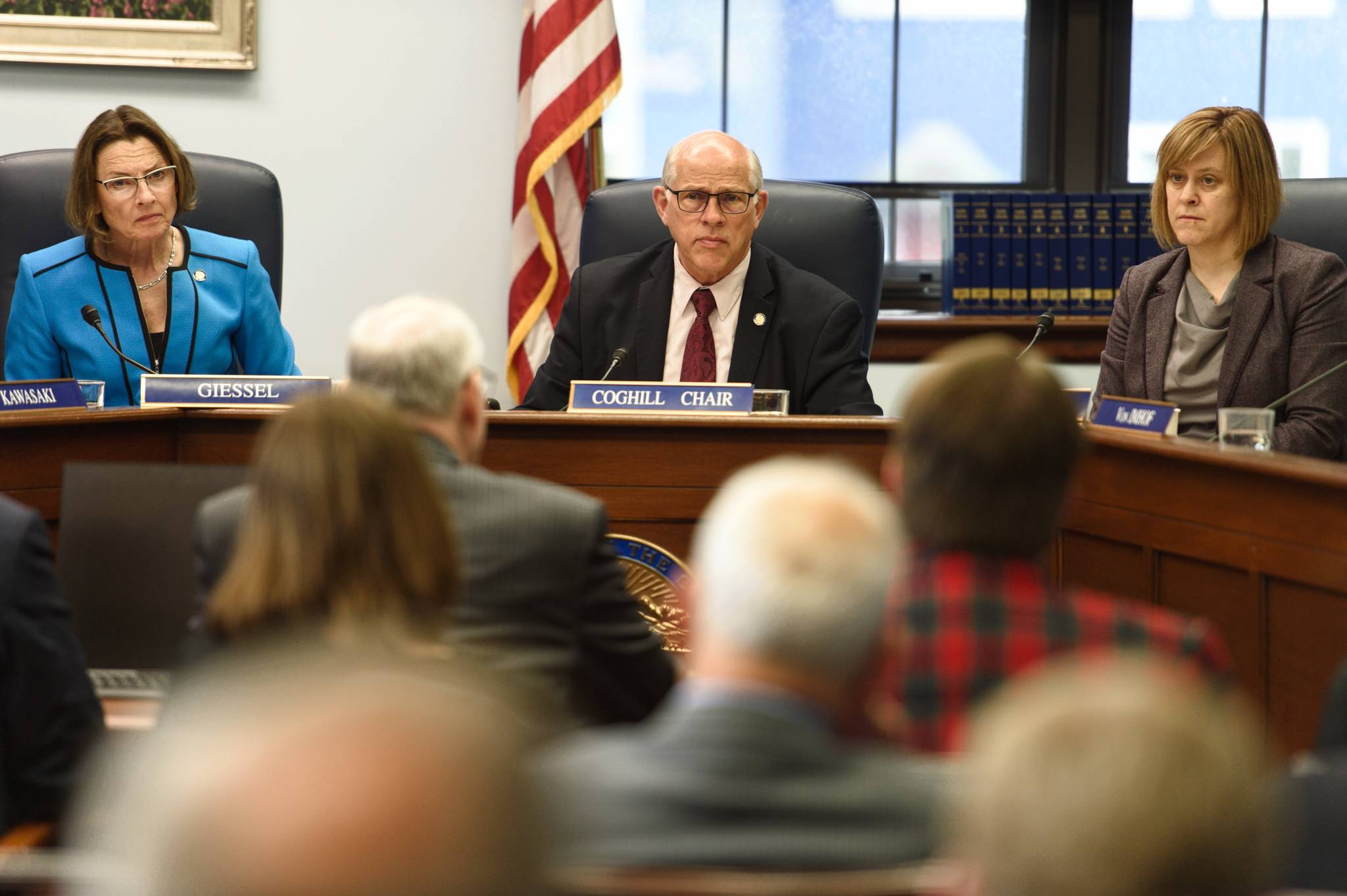 Sen. Cathy Giessel, R-Anchorage, left, Sen. John Coghill, R-North Pole, center, and Sen. Mia Costello, R-Anchorage, listen to Sen. Bert Stedman, R-Sitka, present SB 1002, a bill to provide a Permanent Fund Dividend of $1,600, to the Senate Rules Committee at the Capitol on Monday, June 3, 2019. (Michael Penn | Juneau Empire)