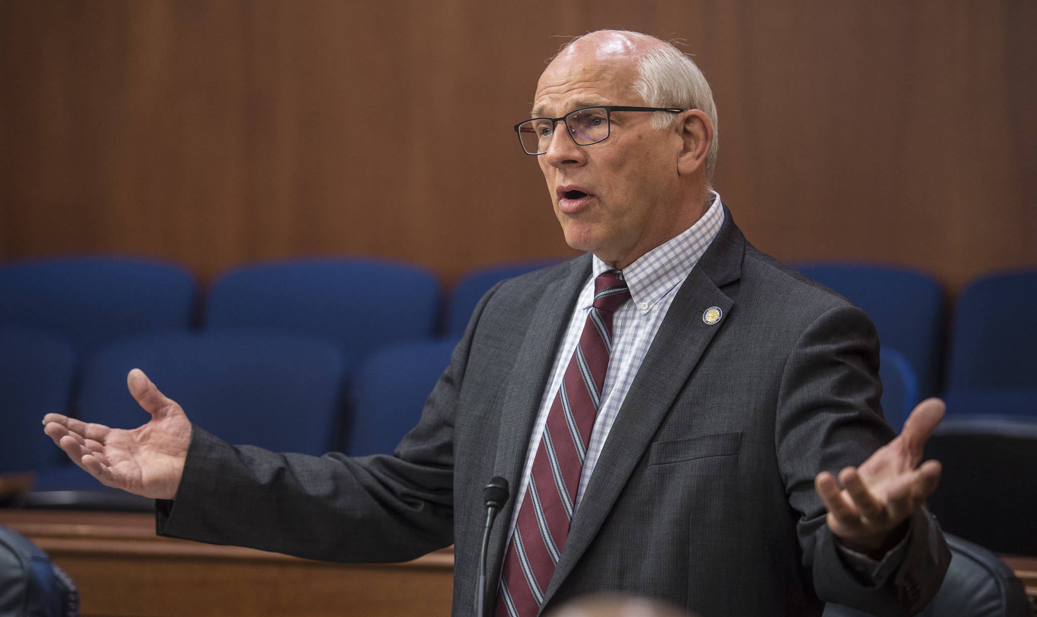 Sen. John Coghill, R-North Pole, debates to limit the funding of the Alaska Permanent Fund dividend through SB 1002 at the Capitol on Tuesday, June 4, 2019. The bill failed to pass. (Michael Penn | Juneau Empire)