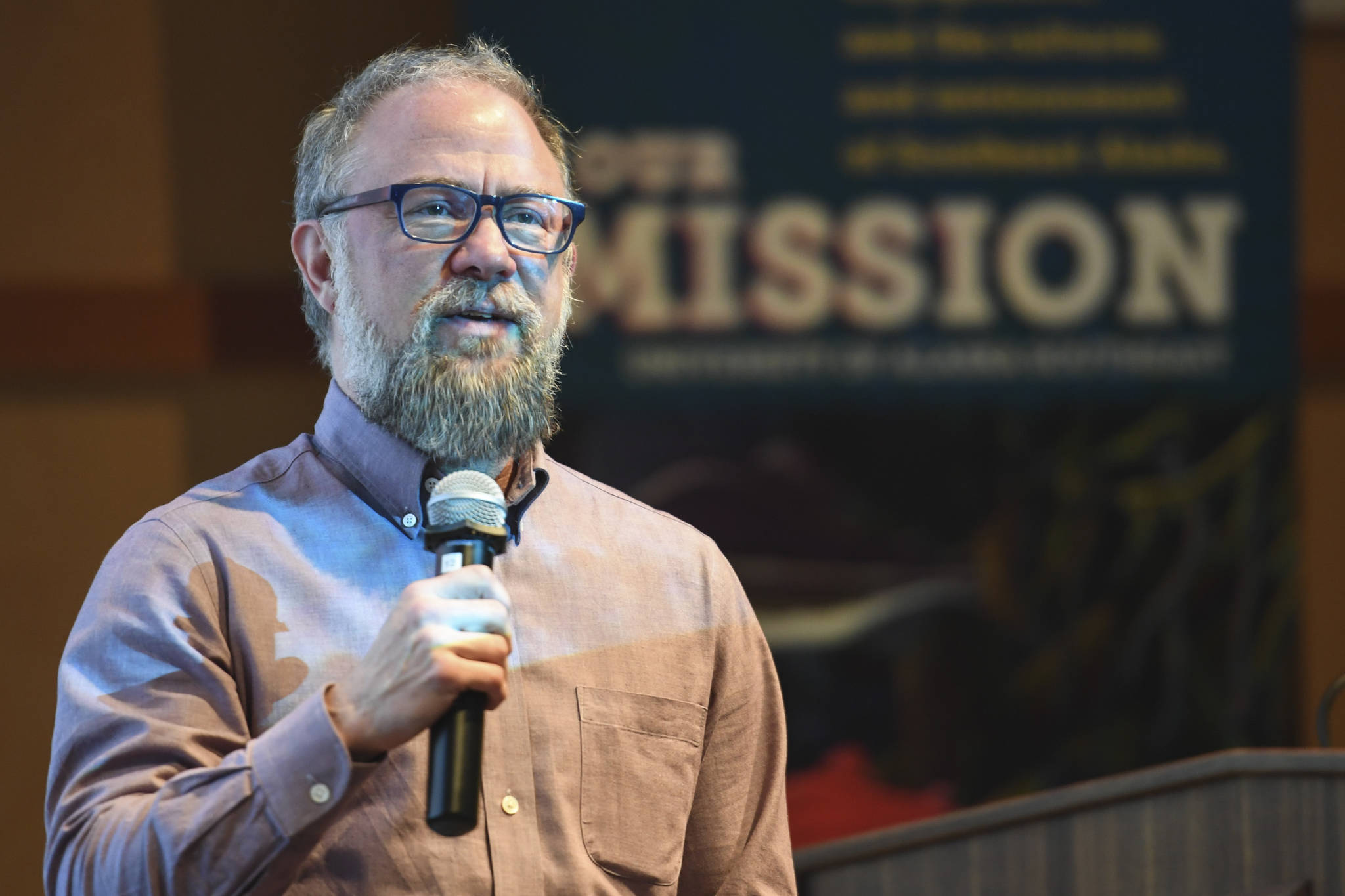 "Aidan Key, director of Gender Diversity, speaks after the showing of the movie, ""The Most Dangerous Year"" at the University of Alaska on Thursday, June 6, 2019. (Michael Penn 