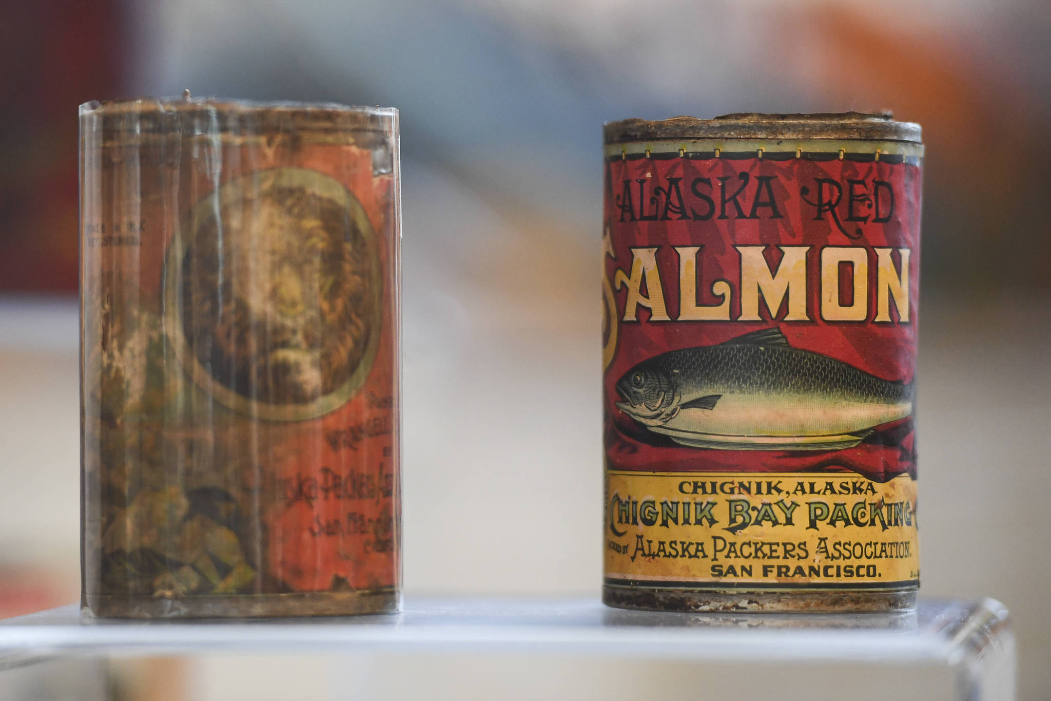 The Alaska State Library features historic salmon canneries with a collection from the Karen Hofstad at the Research Center for First Friday on Friday, June 7, 2019. (Michael Penn | Juneau Empire)