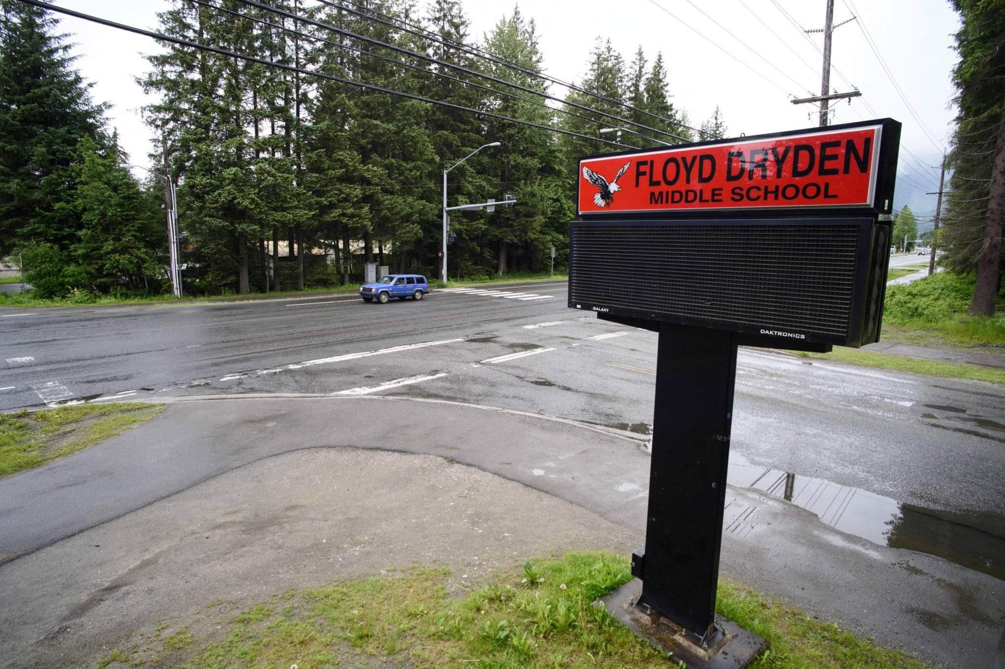 The intersection of Mendenhall Loop Road at Floyd Dryden Middle School, June 11, 2019. The Department of Transportation and Public Facilities plans to build a roundabout at the intersection. (Michael Penn | Juneau Empire)