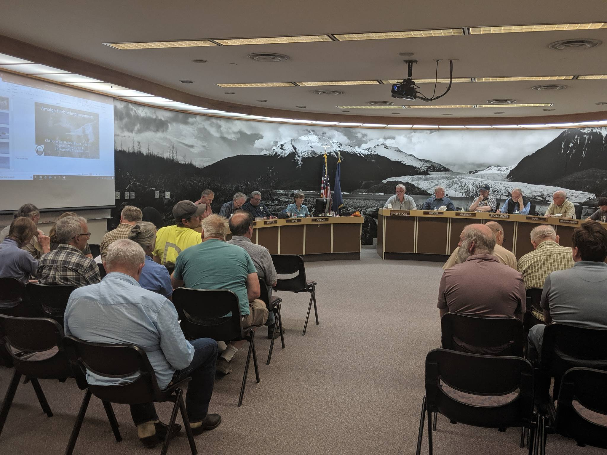It wasn't quite a full house, but there were about two dozen people in attendance at Thursday's City and Borough of Juneau Docks & Harbors Board meeting. (Ben Hohenstatt | Juneau Empire)