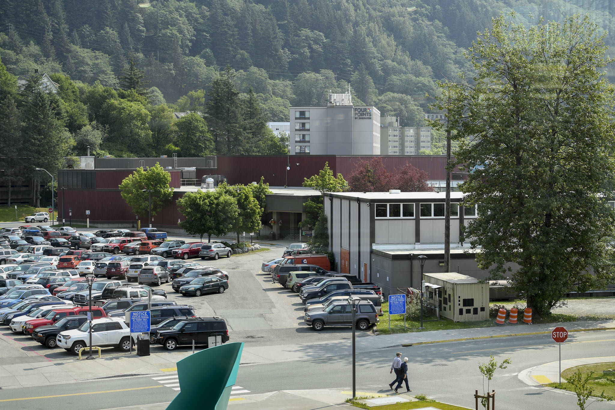 Centennial Hall, left, and the Juneau Arts and Culture Center on Tuesday, July 2, 2019. There are proposals for a New JACC and renovated Centennial Hall, but when work would happen and how it would be funded are still being decided. (Michael Penn | Juneau Empire)