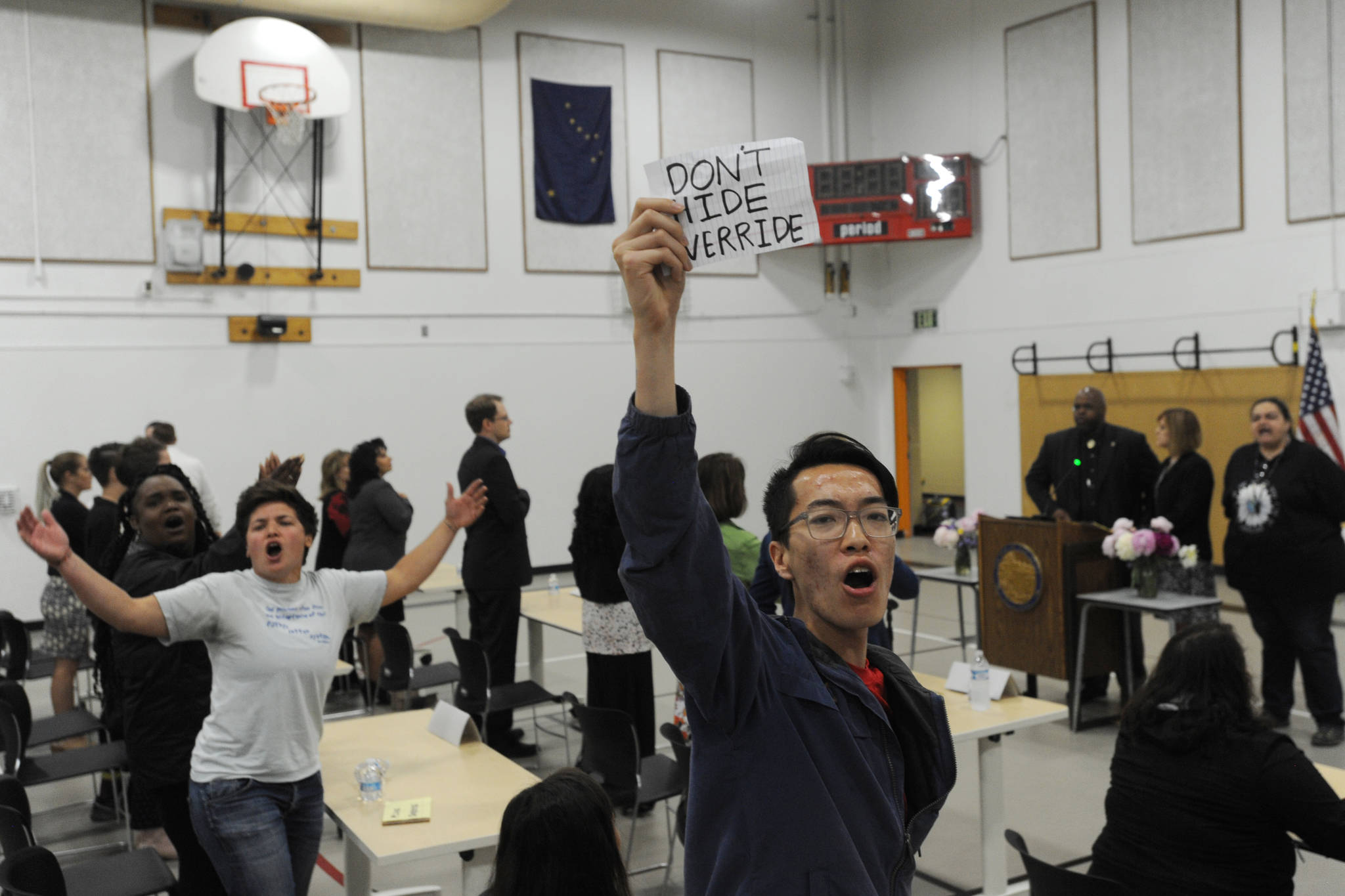 Protesters hijacked the legislative special session at Wasilla Middle School on Wednesday, July 10, 2019. (Bill Roth / ADN)