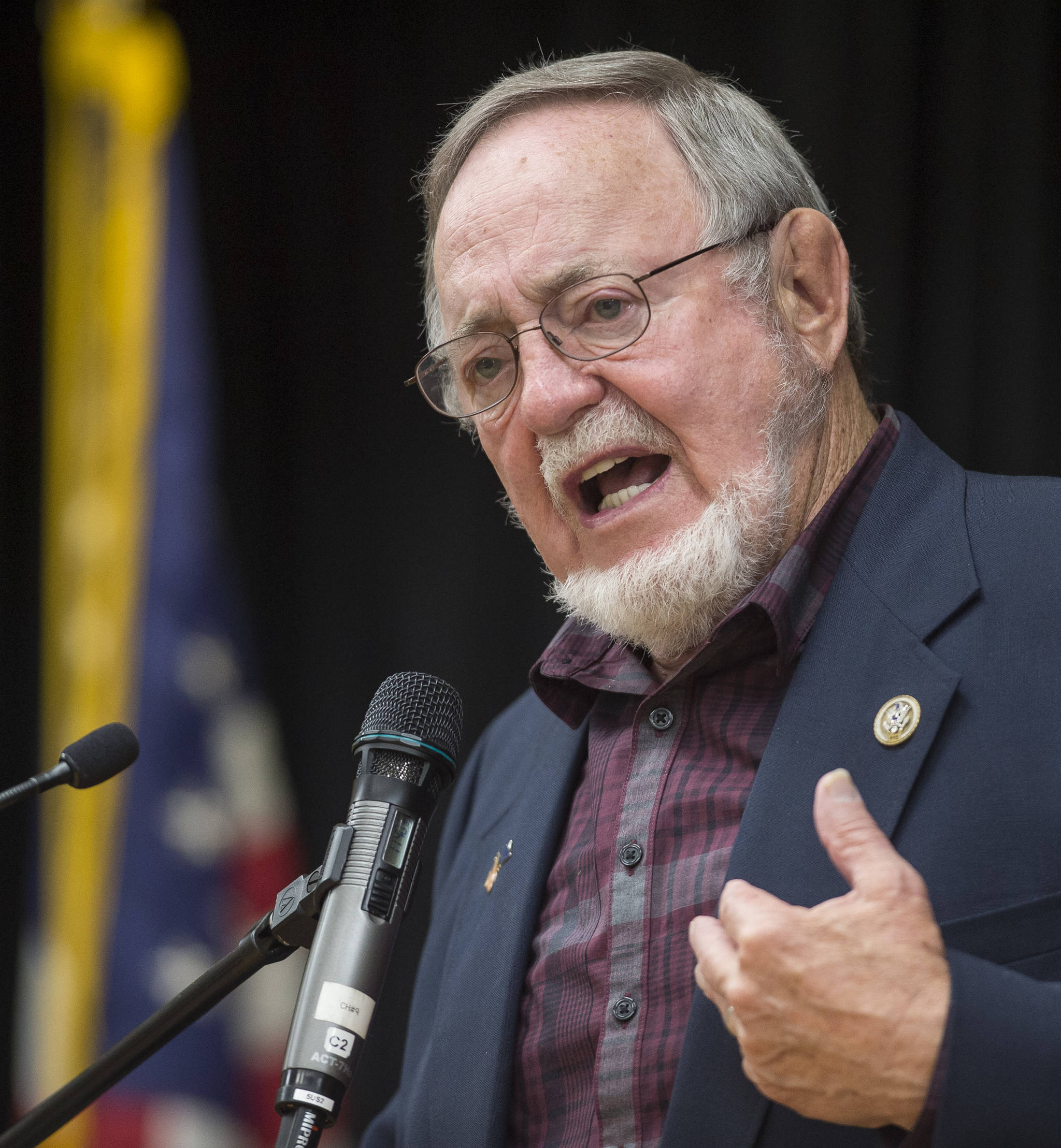 U.S. Rep. Don Young, R-Alaska, speaks at the Native Issues Forum at the Elizabeth Peratrovich Hall on Wednesday, August 1, 2018. (Michael Penn | Juneau Empire)