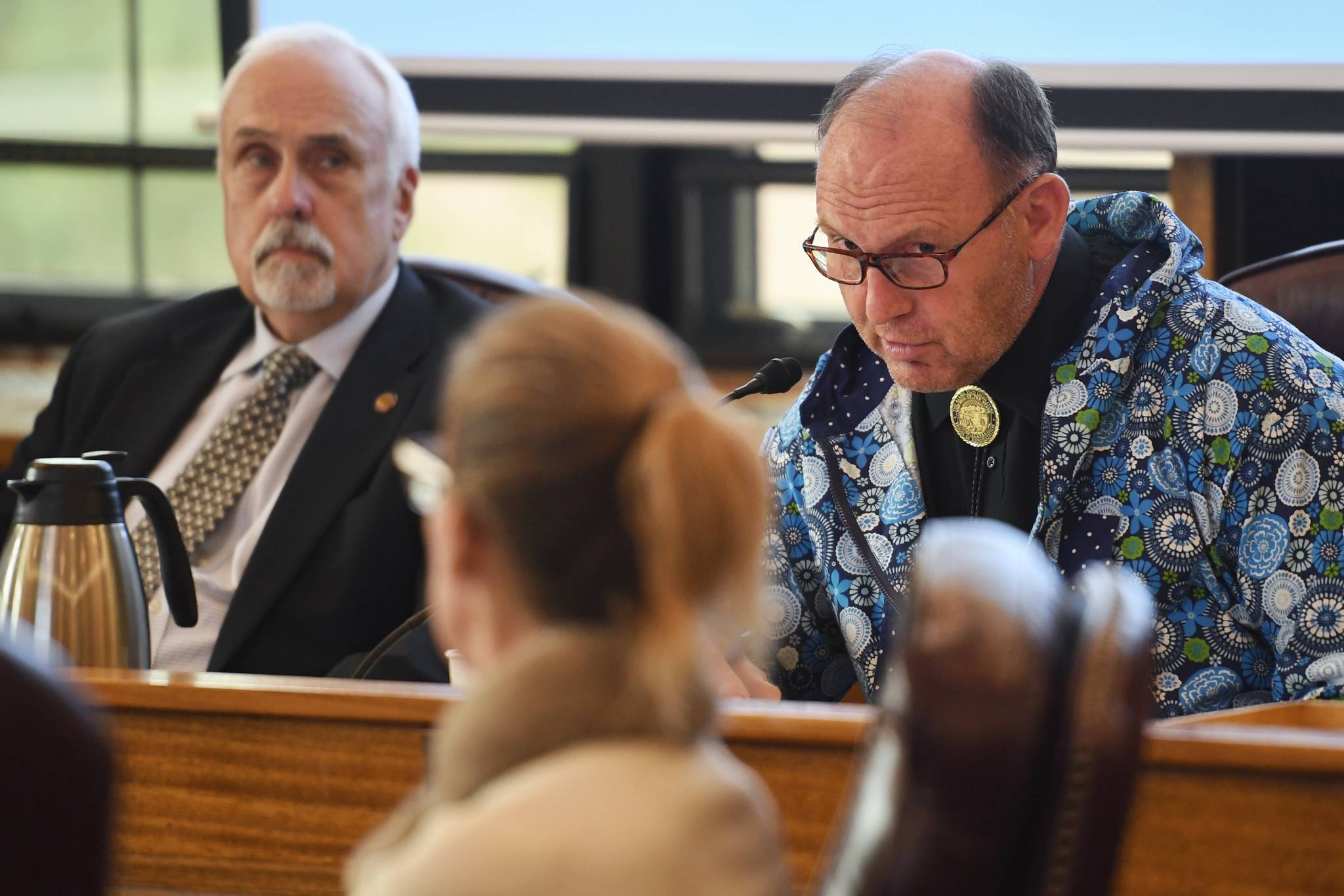 Rep. Gary Knopp, R-Kenai, right, questions Donna Arduin, Director of the Office of Management and Budget, center, as Rep. Bart LeBon, R-Fairbanks, listens during a House Finance Committee meeting on HB 2002 at the Capitol on Thursday, July 18, 2019.(Michael Penn | Juneau Empire)