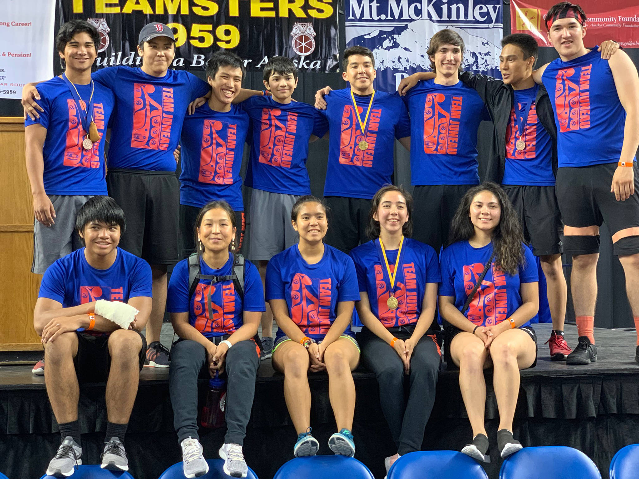 Team Juneau poses for a team picture at the conclusion of the World-Eskimo Indian Olympics at the Carlson Center in Fairbanks on Sunday, July 21, 2019. (Courtesy Photo | Kyle Worl)