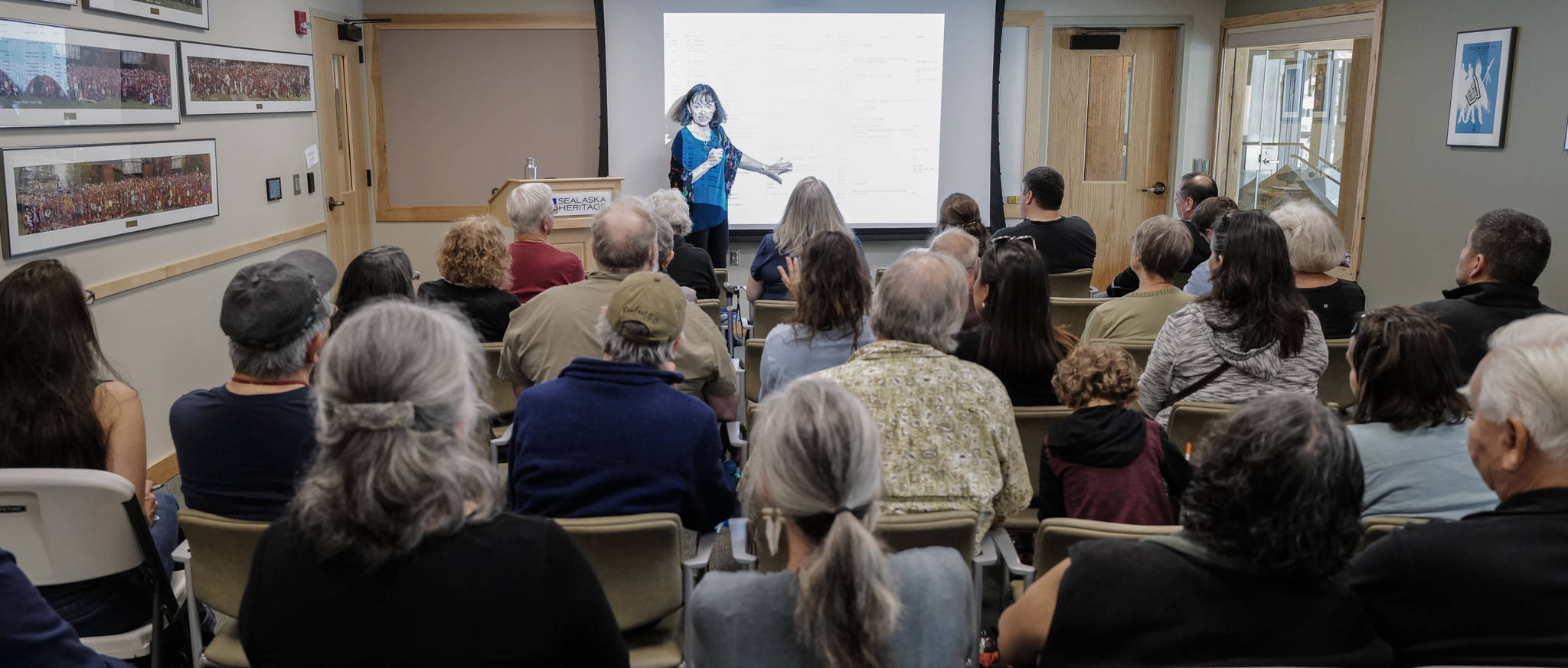 Dr. Madonna Moss, professor of anthropological archaeology at the University of Oregon, speaks on Tlingit relationships with sea otters and whether Tlingit people consumed sea otters as food in the past during a lecture at the Walter Soboleff Center on Friday, Aug. 2, 2019. (Michael Penn | Juneau Empire)