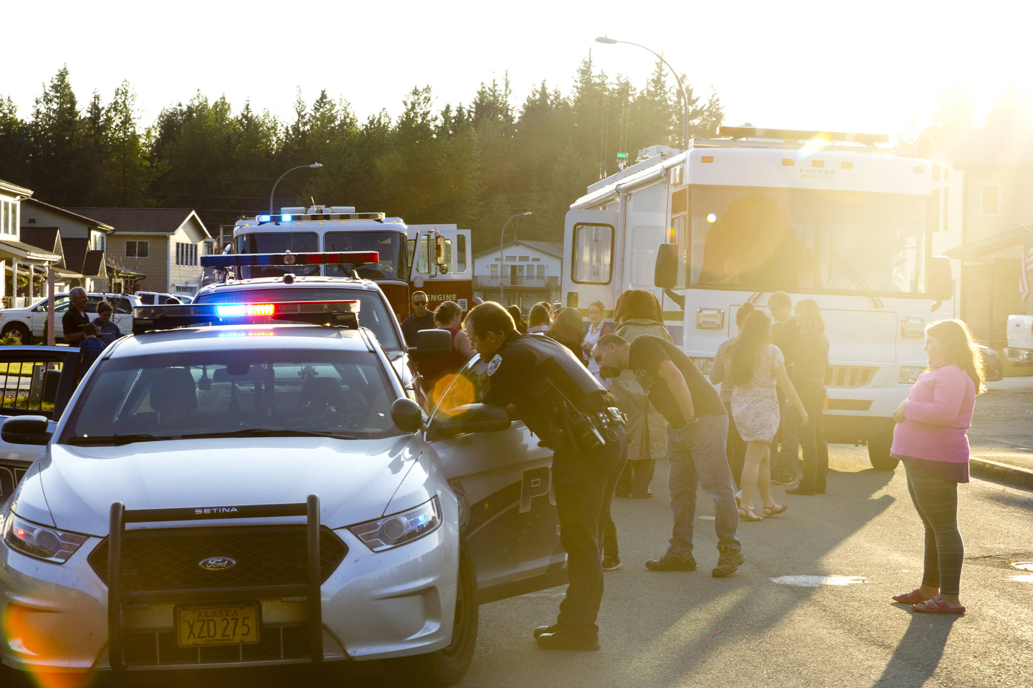 The Juneau Police Department organized participation in the National Night Out for all Juneau public services, including Capital City Fire/Rescue, the Alaska State Troopers, and other uniformed and nonuniformed public services, Aug. 6, 2019. (Michael S. Lockett | Juneau Empire)