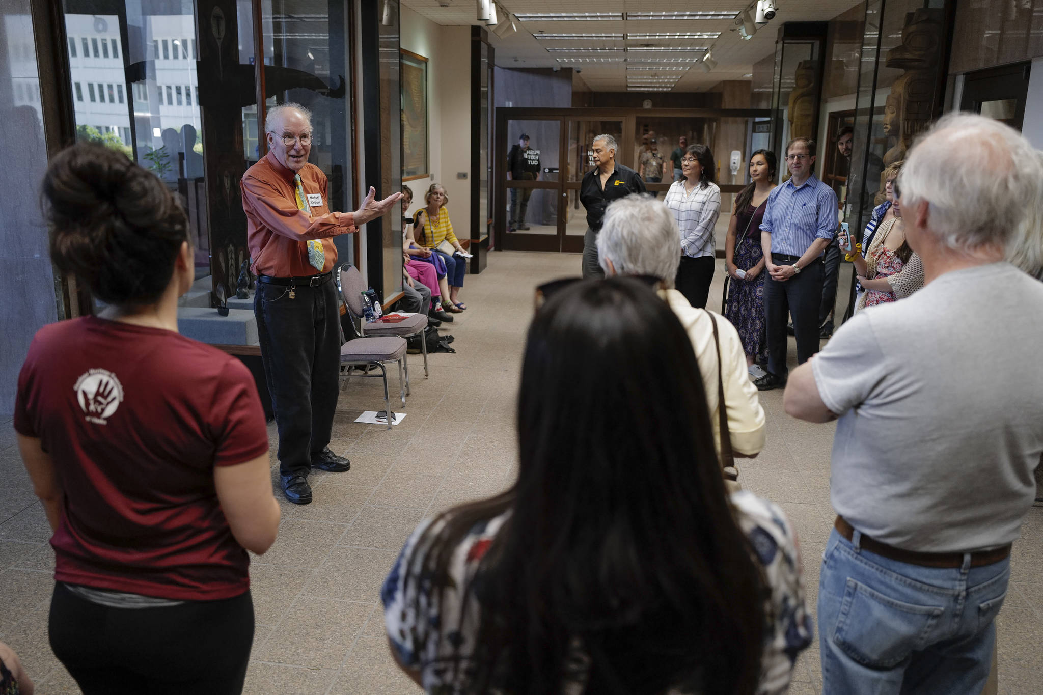 Michael Orelove talks about the making of the 1994 Juneau Time Capsule on its 25th anniversary at the Hurff Ackerman Saunders Federal Building in Juneau on Friday, Aug. 9, 2019. (Michael Penn | Juneau Empire)