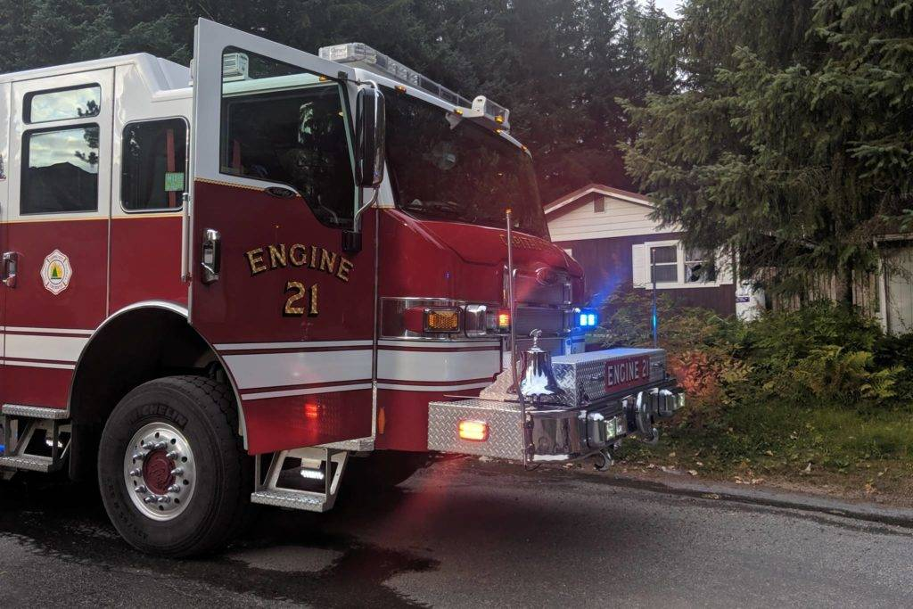 Capital City Fire/Rescue responded to the scene of a structure fire the evening of Aug. 19, 2019. (Ben Hohenstatt | Juneau Empire)