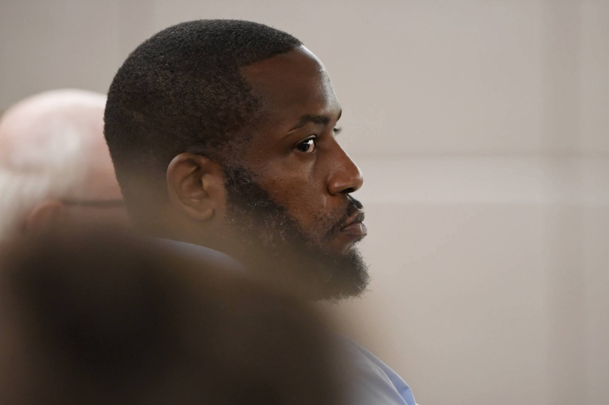 Laron Carlton Graham listens in Juneau Superior Court on Wednesday, Sept. 4, 2019, during his trial on two counts of first-degree murder for the November 2015 shooting deaths of 36-year-old Robert H. Meireis and 34-year-old Elizabeth K. Tonsmeire. (Michael Penn   Juneau Empire)