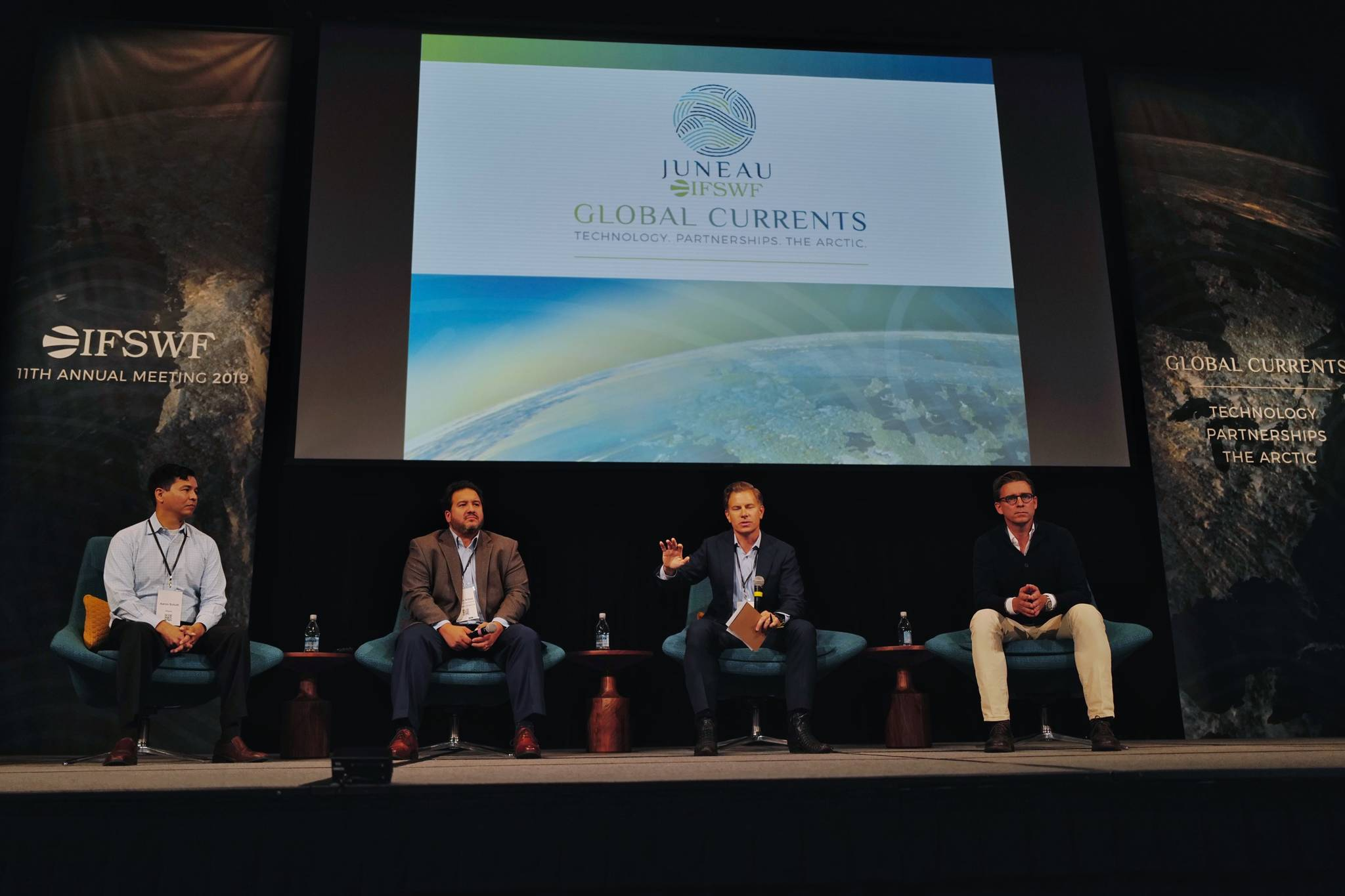 Erik Bethel, U.S. Director of the World Bank, second from right, moderates a panel on the Future of the Arctic with Aaron Schutt, President and CEO of Doyon Limit, left, Damian Bilbao, Vice President of Commercial Ventures for BP Alaska, center and Nils Bolmstrand, CEO of Nordea Asset Management, during the annual meeting of the International Forum of Sovereign Wealth Funds at Centennial Hall on Thursday, Sept. 12, 2019. (Michael Penn | Juneau Empire)