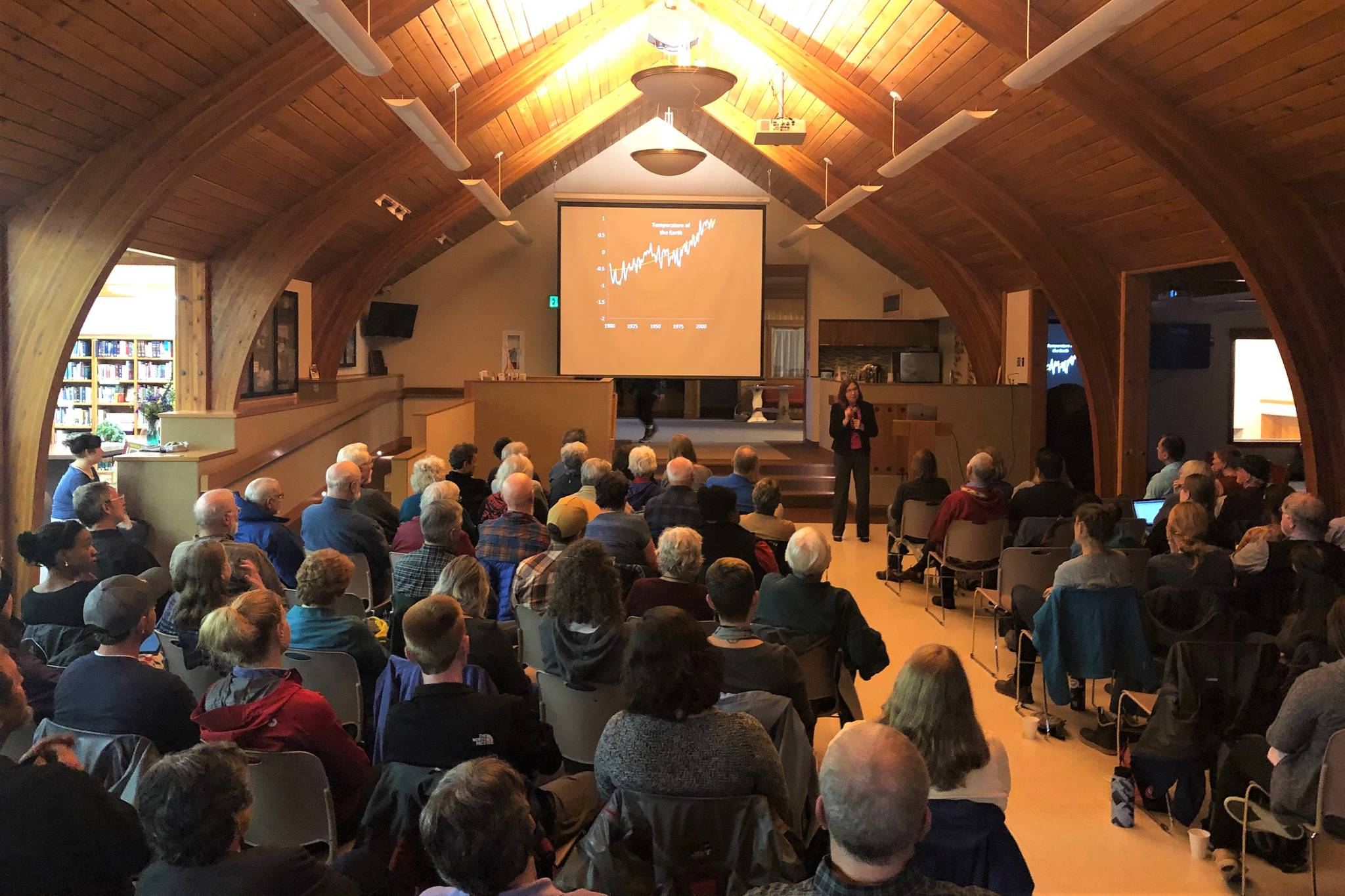 Katharine Hayhoe speaks to the audience at Chapel by the Lake on Sept. 13, 2019. (Peter Segall | Juneau Empire)