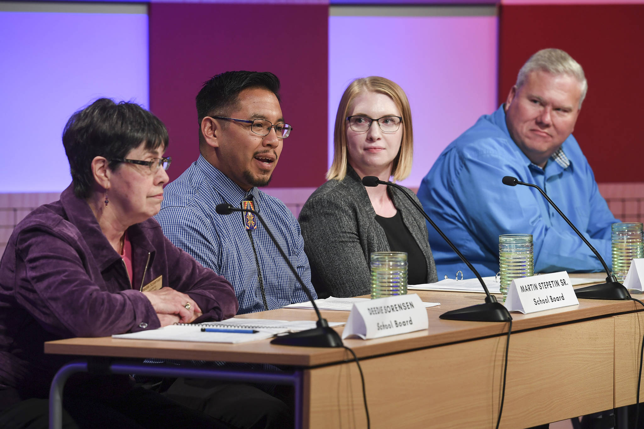 Juneau School Board candidates Deedie Sorensen, left, Martin Stepetin, Sr., Bonny Jensen and Emil Mackey, right, respond to questions during a candidate forum at KTOO on Tuesday, Sept. 17, 2019. The event was sponsored by the Juneau League of Women Voters. (Michael Penn | Juneau Empire)