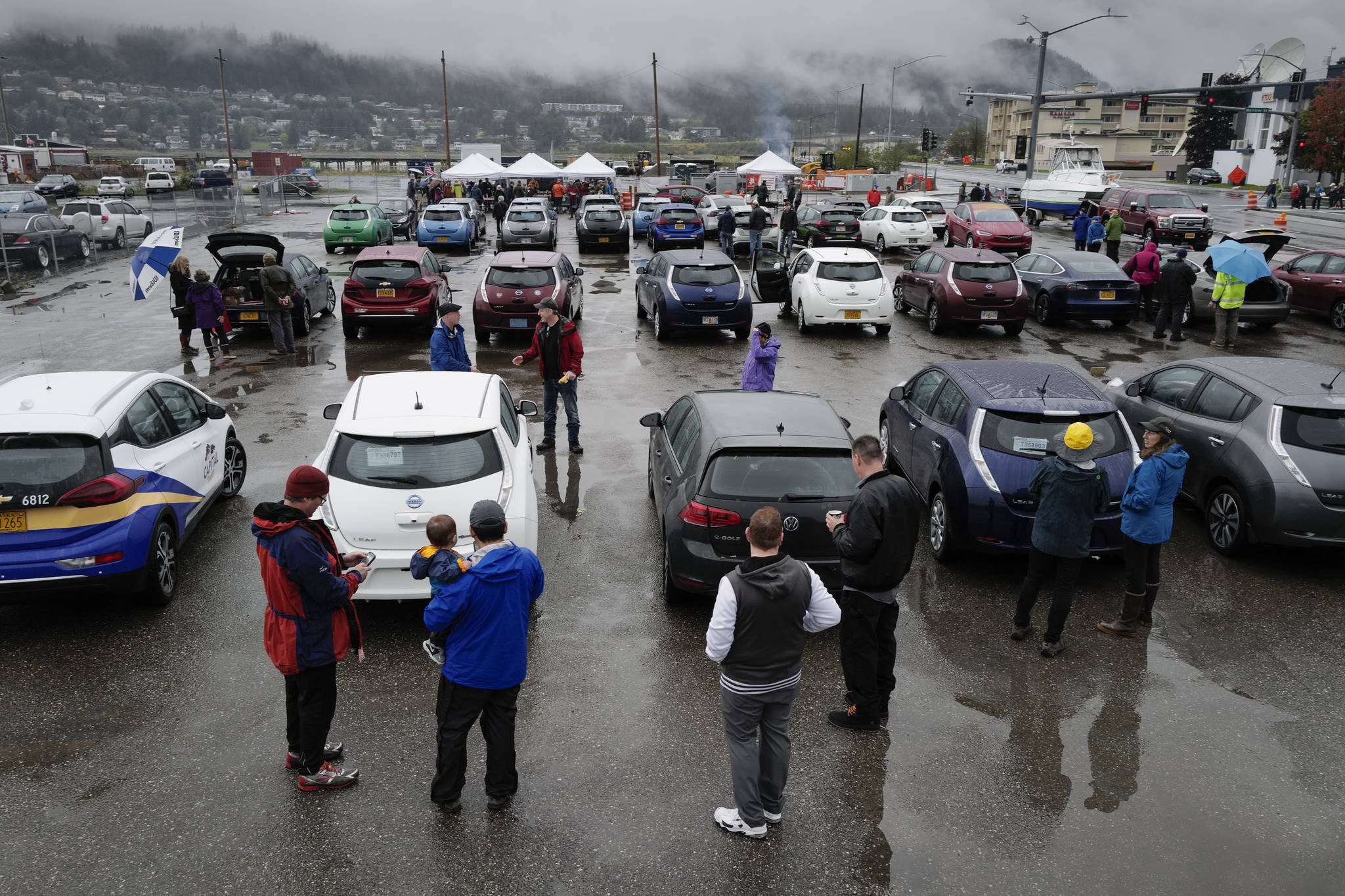 Juneau residents meet for the Sixth Annual Electric Vehicle Juneau Roundup on Saturday, Sept. 21, 2019. (Michael Penn | Juneau Empire)