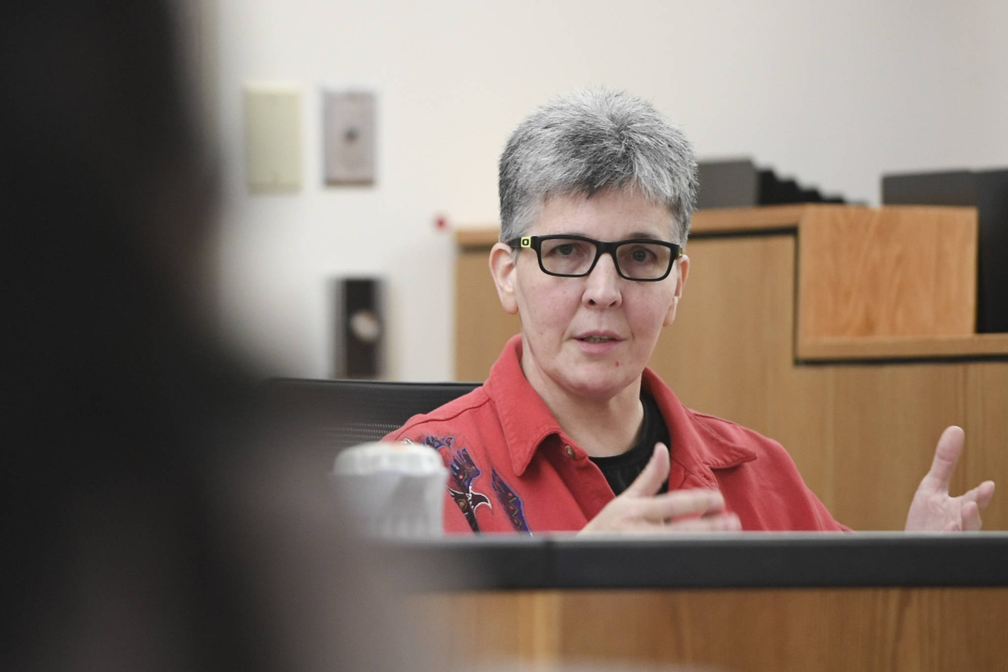 Regan Tweedy, mother of James LeBlanc-Tweedy, answers questions on the witness stand to questioning by defense attorney Natasha Norris in Juneau Superior Court on Tuesday, Sept. 24, 2019, during the trial of Laron Carlton Graham. Graham is facing two counts of first-degree murder for the November 2015 shooting deaths of 36-year-old Robert H. Meireis and 34-year-old Elizabeth K. Tonsmeire. (Michael Penn | Juneau Empire)