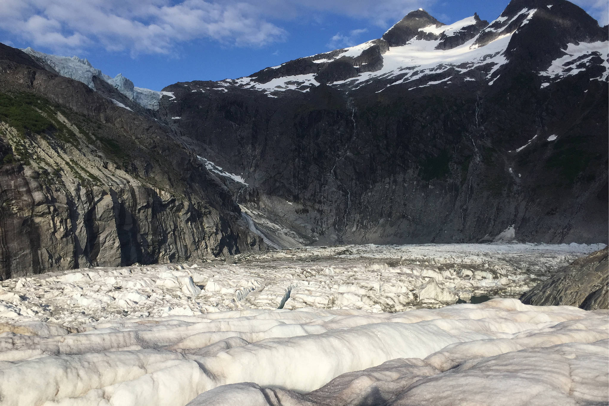 Suicide Basin, with Suicide Glacier in the top left corner, seen on Friday, June 21, 2019. (Nolin Ainsworth | Juneau Empire File)
