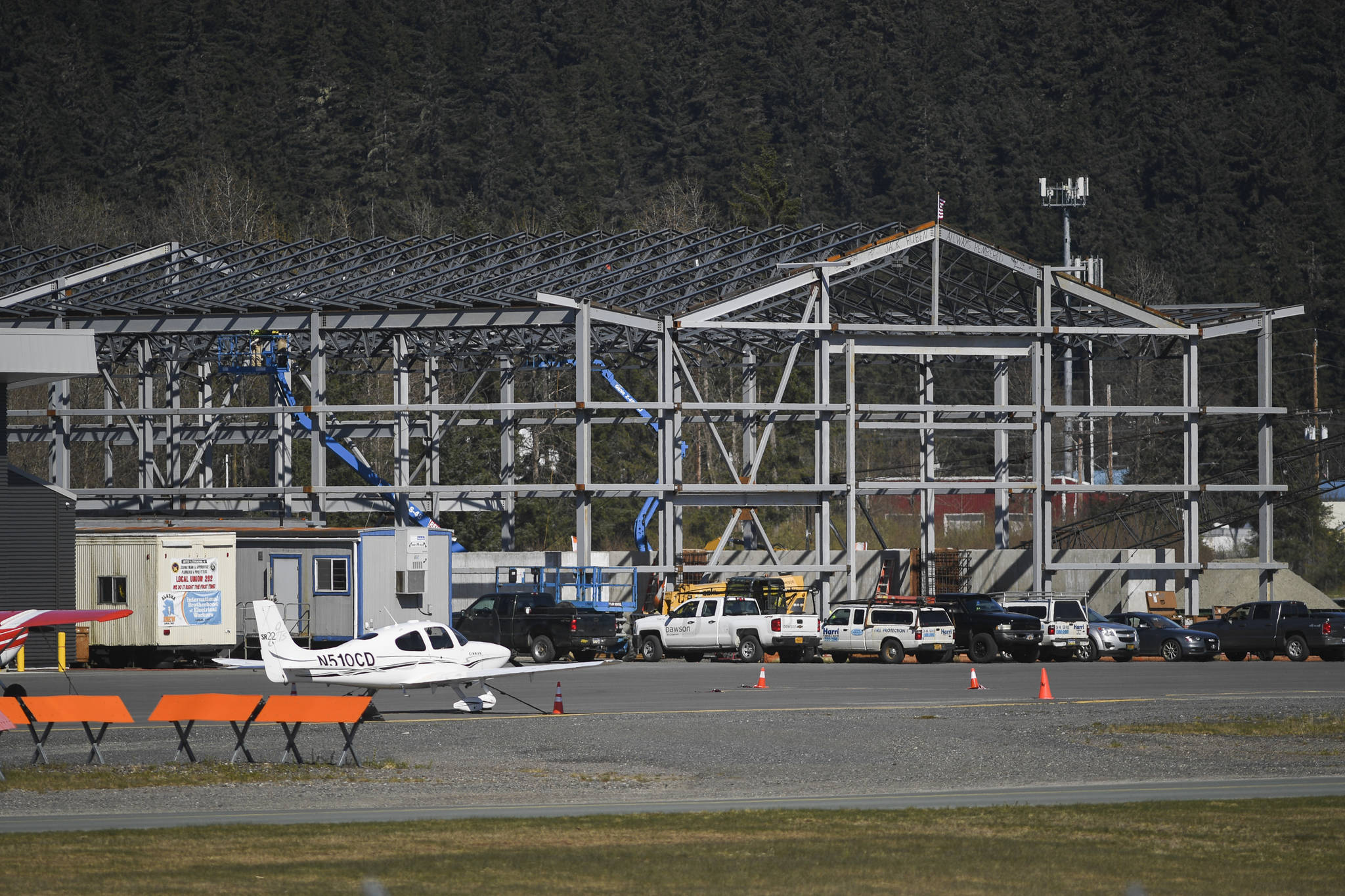A new sand building under construction in addition to the new maintenance project about to get underway at the Juneau International Airport on Monday, April 29, 2019. (Michael Penn | Juneau Empire)
