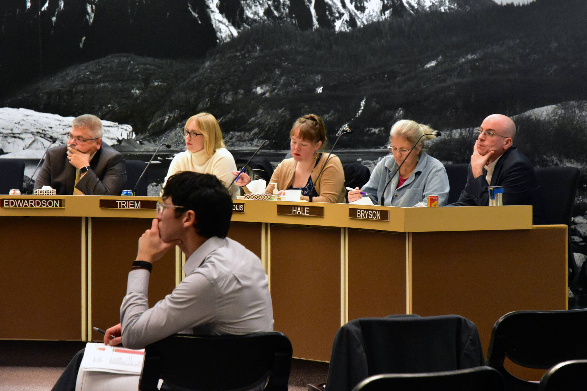 Assembly member-elect Greg Smith listens with other members of the Assembly at a Finance Committee meeting at Juneau City Hall on Wednesday, Oct. 2, 2019. (Peter Segall | Juneau Empire)