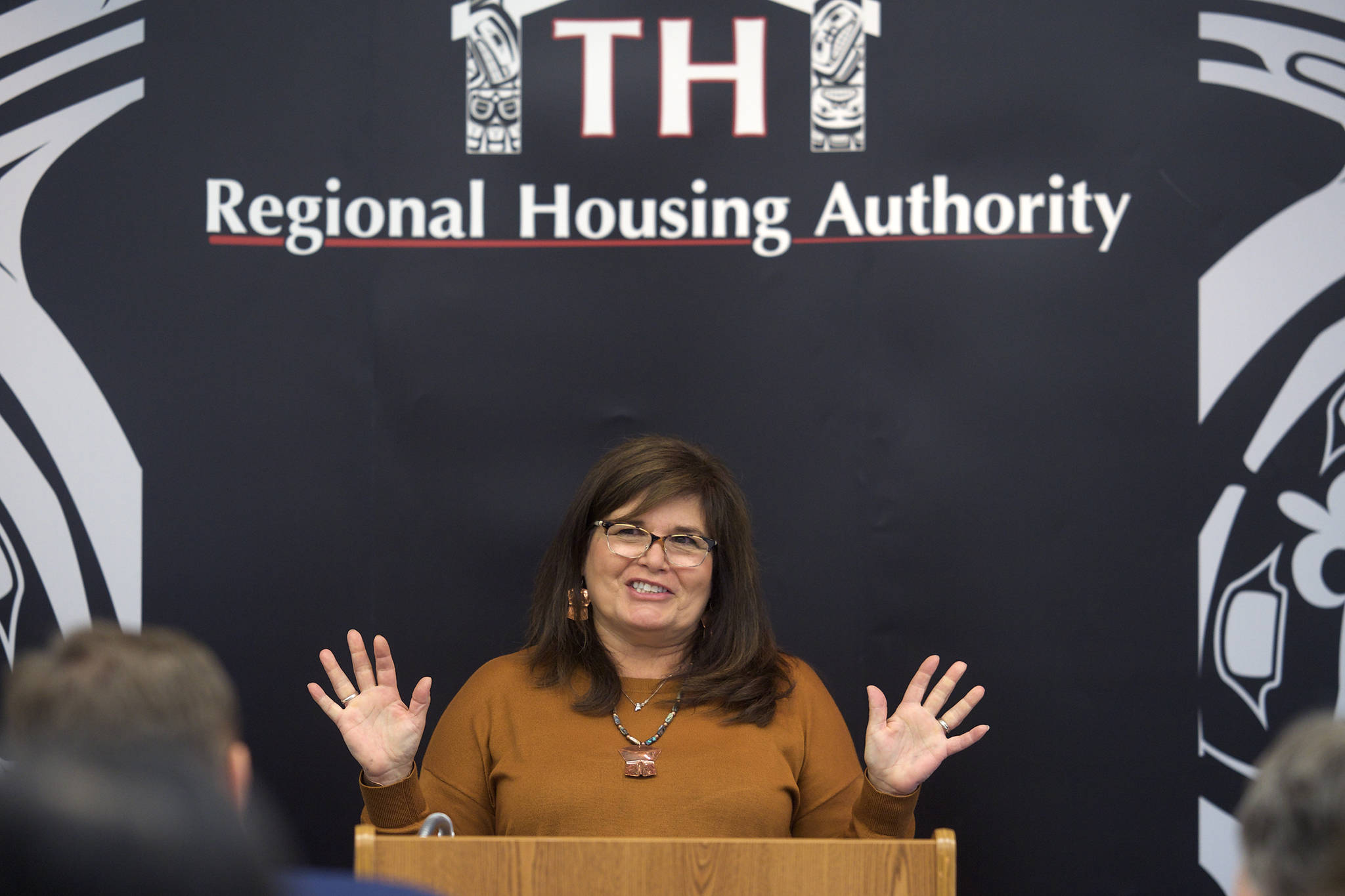 Jacqueline Pata, President & CEO of the Tlingit-Haida Regional Housing Authority, speaks at an announcement of a $1 million grant to help veteran's housing needs in Southeast Alaska on Thursday, Oct. 3, 2019. (Michael Penn | Juneau Empire)