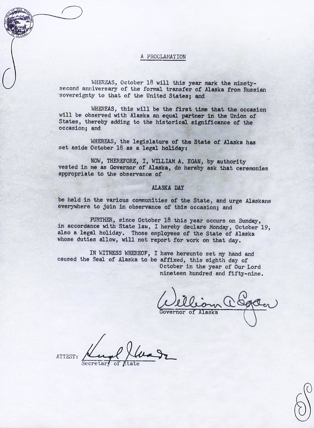 This is a scan of Gov. William Egan's original proclamation making Alaska Day an annual holiday. (Courtesy of the Alaska State Museum archives)