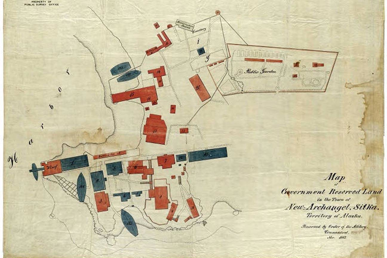 This is an early map of Sitka at the time of the handover, showing the buildings and government land. (Courtesy of the Alaska State Museum archives)