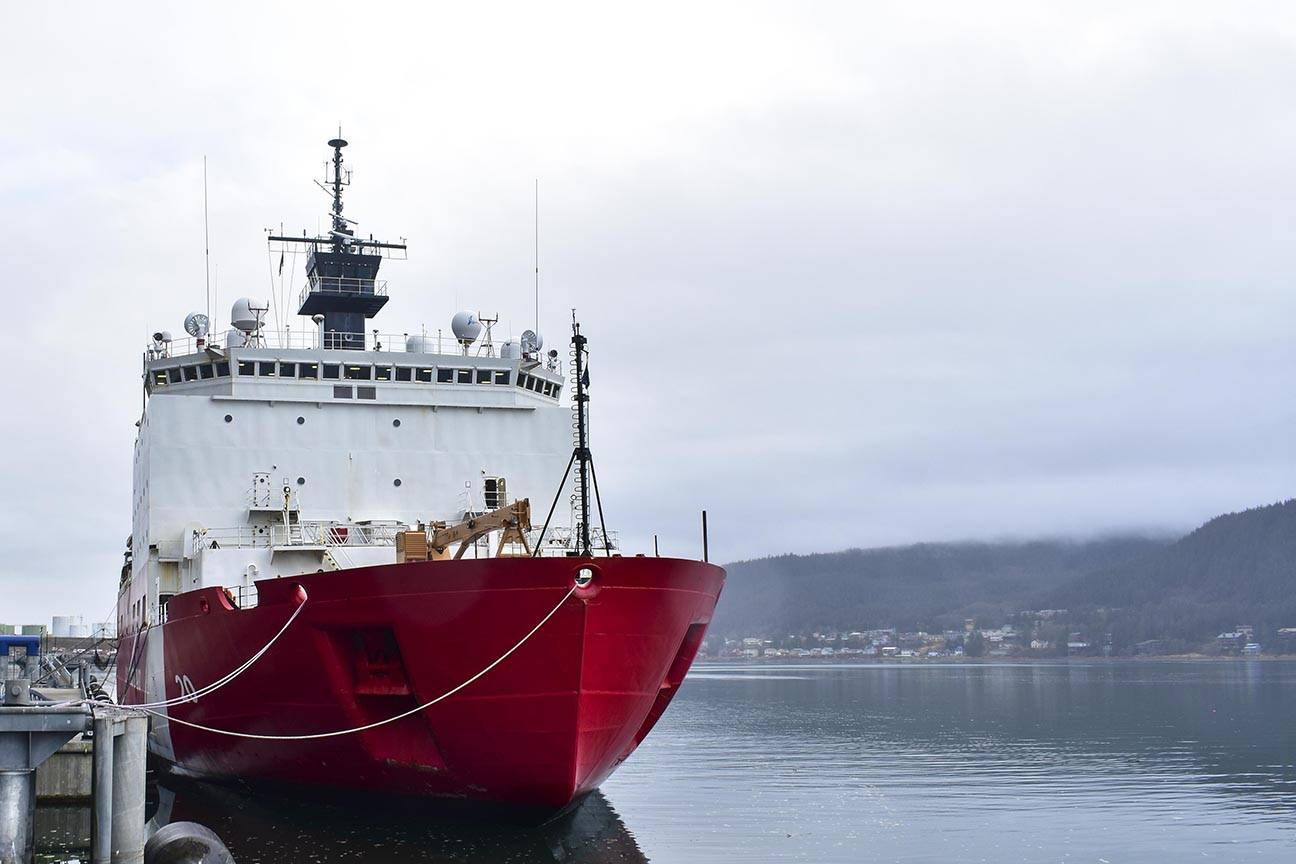 The USCGC Healy, the Coast Guard's only medium icebreaker, lies moored to the pier in Juneau as it returns to Seattle at the end of deployment, Oct. 27, 2019. (Peter Segall | Juneau Empire)