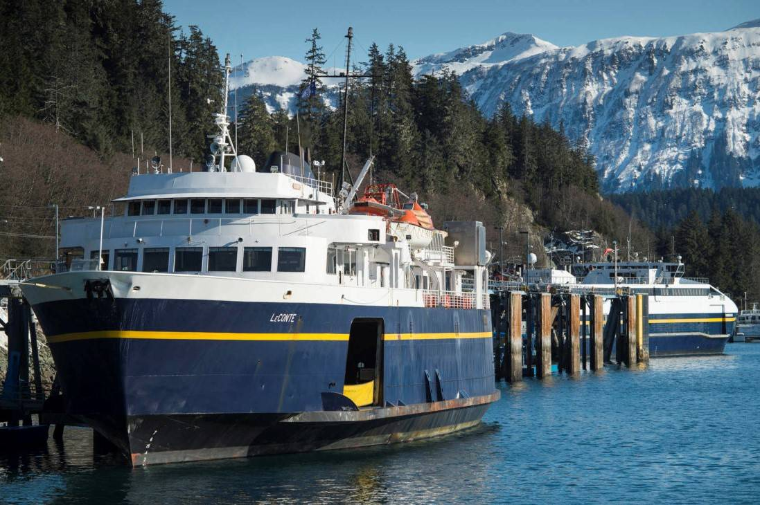 The Alaska Marine Highway System ferries LeConte, left, and Fairweather at the Auke Bay Terminal on Monday, March 5, 2018. (Juneau Empire file)