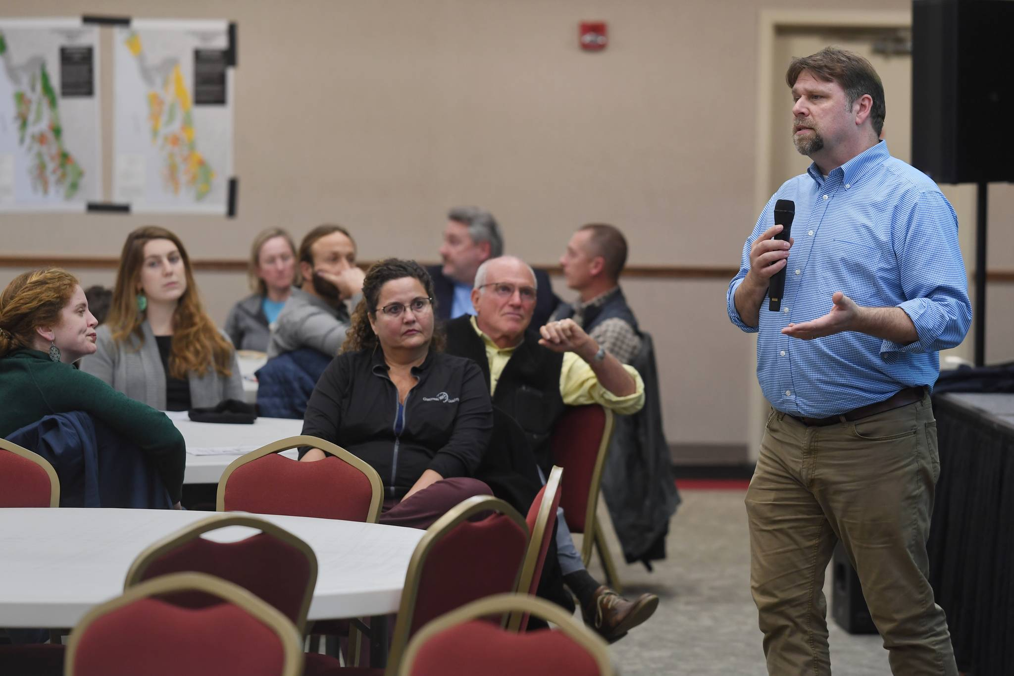 National Forest System Deputy Chief Chris French speaks to a full room During an informational meeting on the U. S. Forest Service's Roadless Rule at the Elizabeth Peratrovich Hall on Monday, Nov. 4, 2019. (Michael Penn | Juneau Empire)