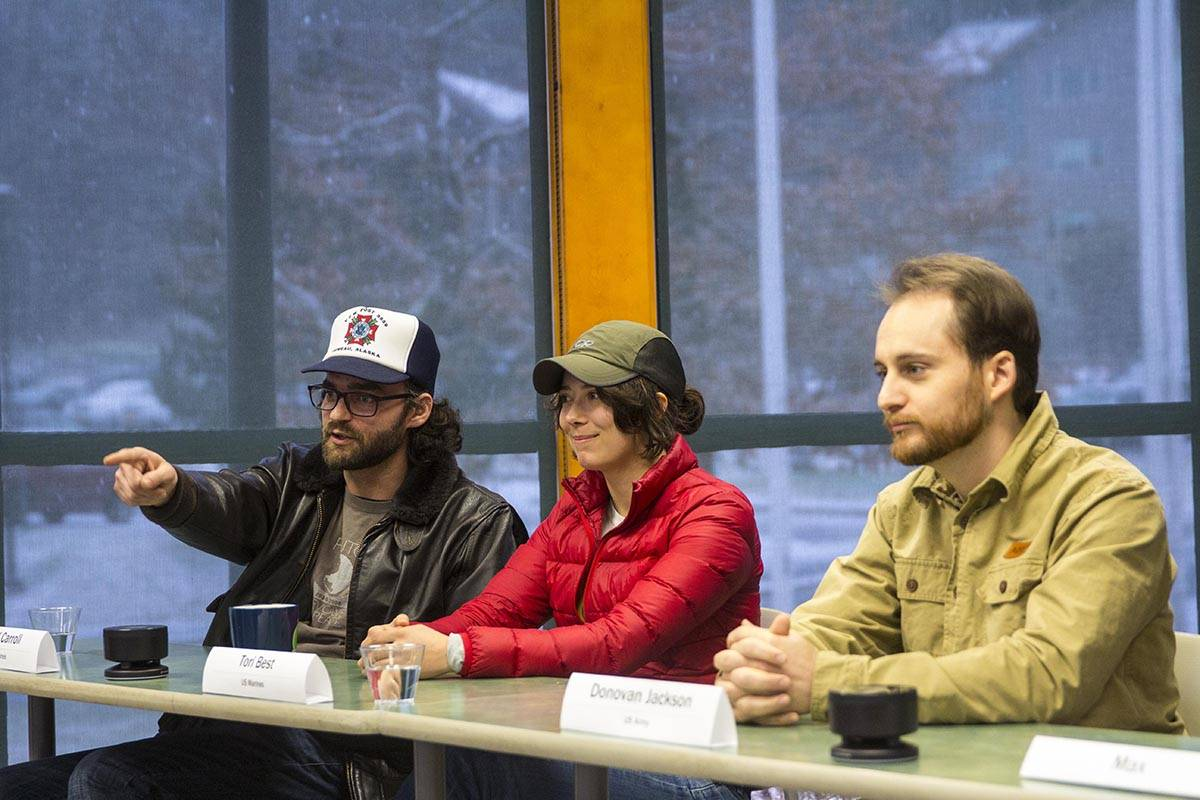 University of Alaska Southeast held a Veterans Day celebration on Nov. 11, 2019, including a panel of student veterans talking about their experience transitioning out of the service. (Michael S. Lockett | Juneau Empire)