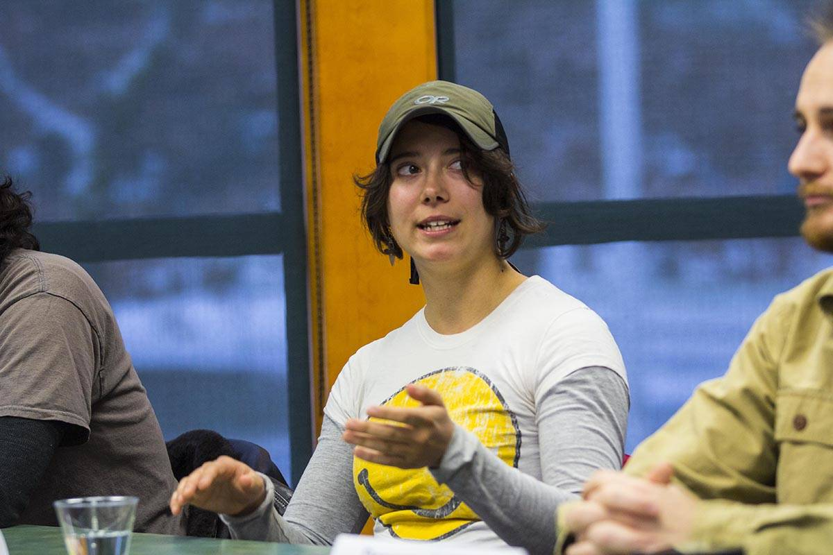 Tori Best, an elementary education major and former Marine combat engineer, answers a question during a panel of student veterans as part of a Veterans Day celebration at University of Alaska Southeast on Nov. 11, 2019. (Michael S. Lockett | Juneau Empire)