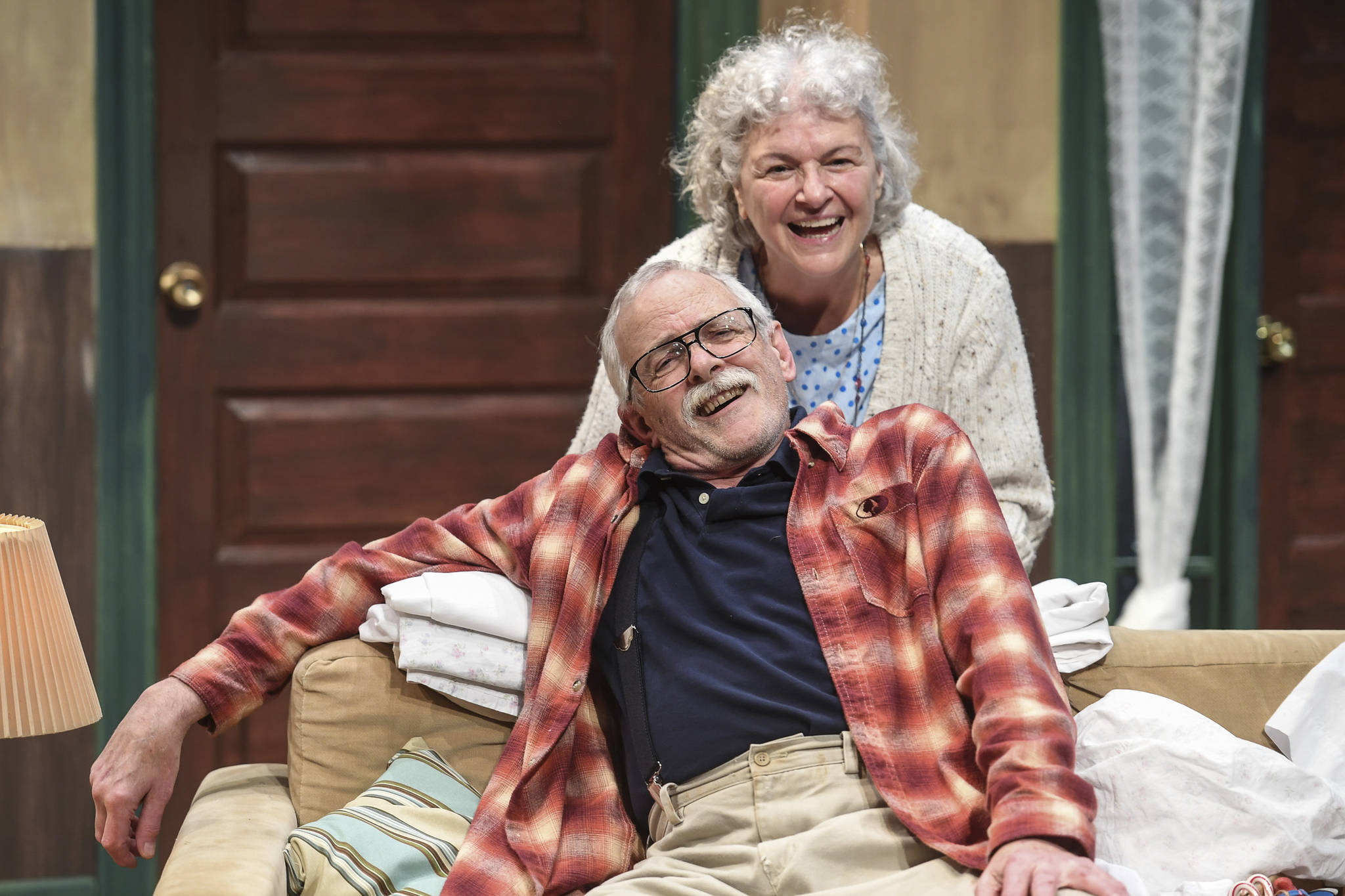 """Clifford, played by Charlie Cardwell, and Minnie, played by Angelina Fiordellisi, rehearse in Perseverance Theatre's production of """"With"""" by playwright Carter Lewis on Tuesday, Nov. 19, 2019. With opens Friday Nov. 22 and runs through Dec. 15. (Michael Penn 