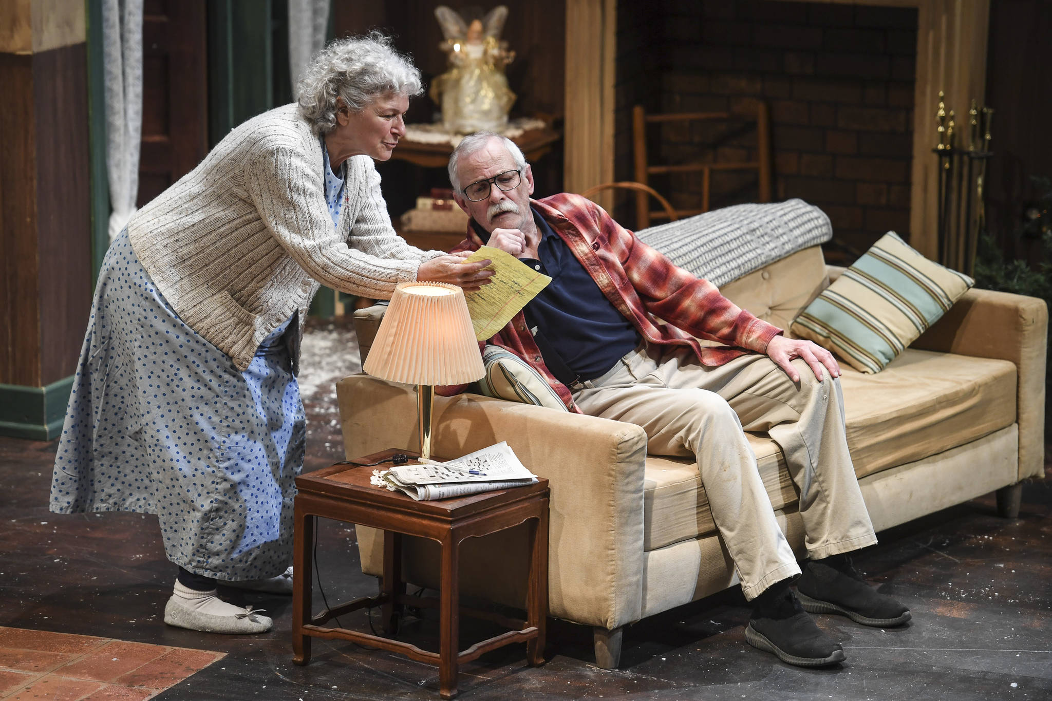 """Clifford, played by Charlie Cardwell, and Minnie, played by Angelina Fiordellisi, rehearse in Perseverance Theatre's production of """"With"""" by playwright Carter Lewis on Tuesday, Nov. 19, 2019. (Michael Penn 