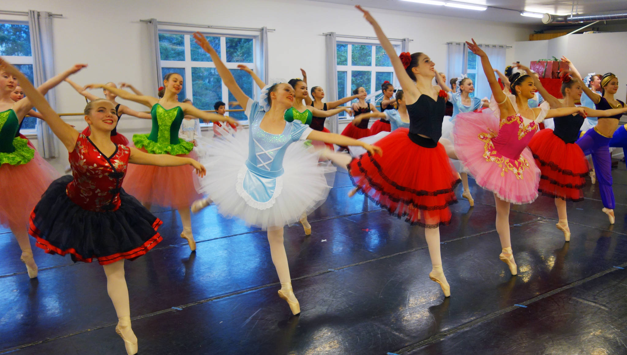 "Juneau Dance Theatre dancers rehearse Saturday, Dec. 1 for an upcoming production of ""The Nutcracker."" (Ben Hohenstatt 
