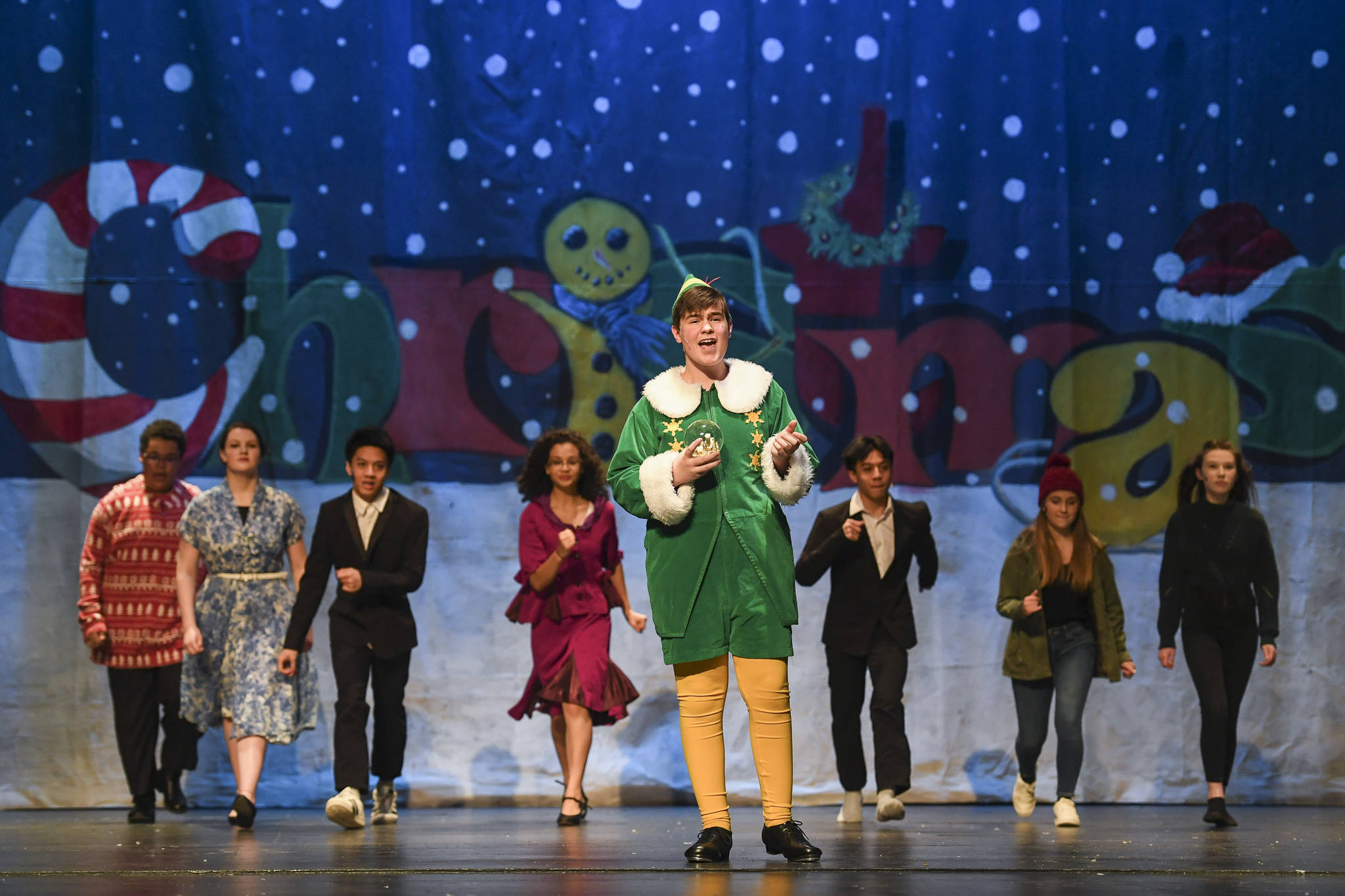"Toby Russell, stars as Buddy the Elf, during rehearsal of ""Elf, the Musicial"" at Juneau-Douglas High School: Yadaa.at Kalé on Friday, Dec. 13, 2019. (Michael Penn 