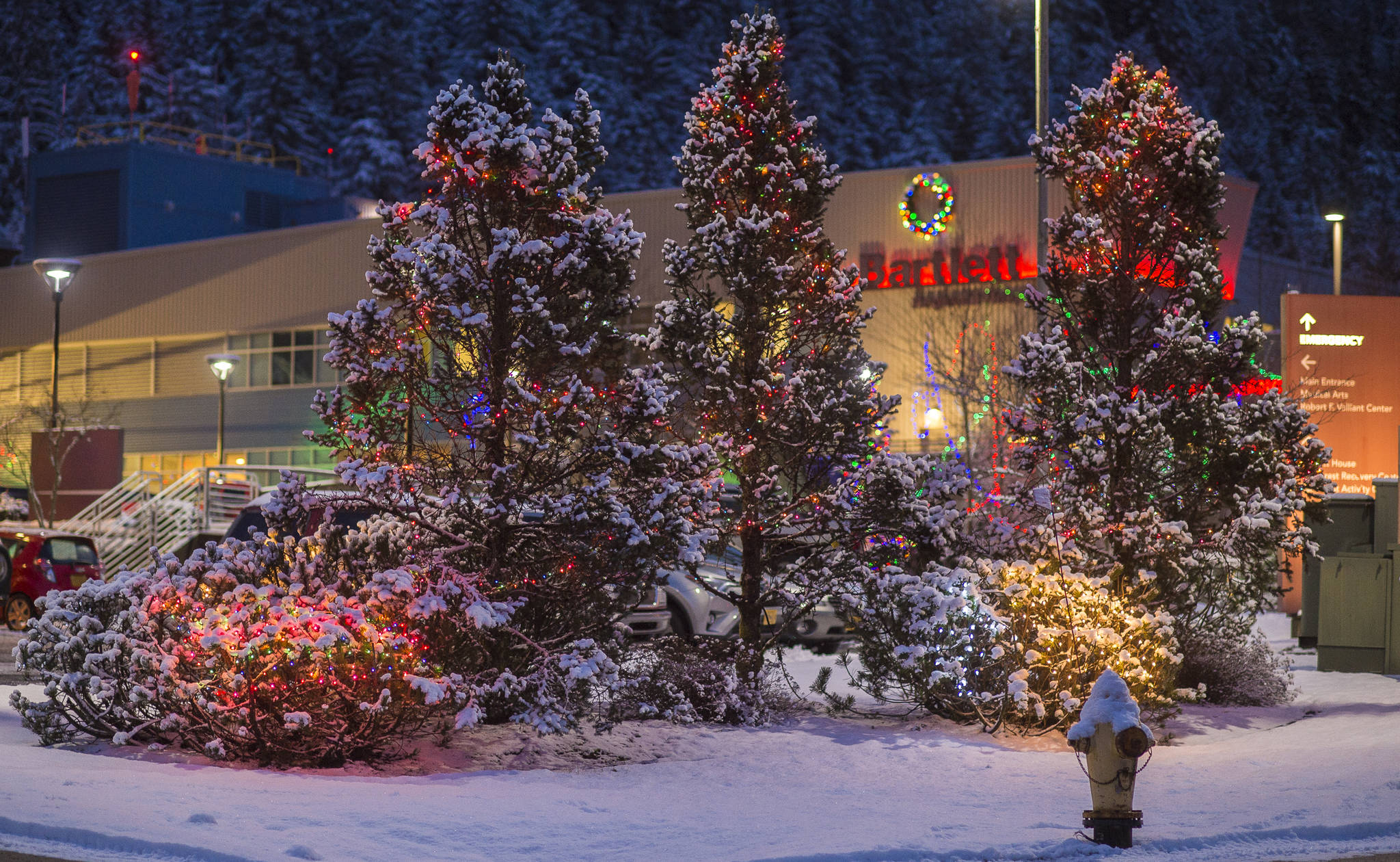 Christmas lights decorate the entrance to Bartlett Regional Hospital in December 2018. (Michael Penn | Juneau Empire File)